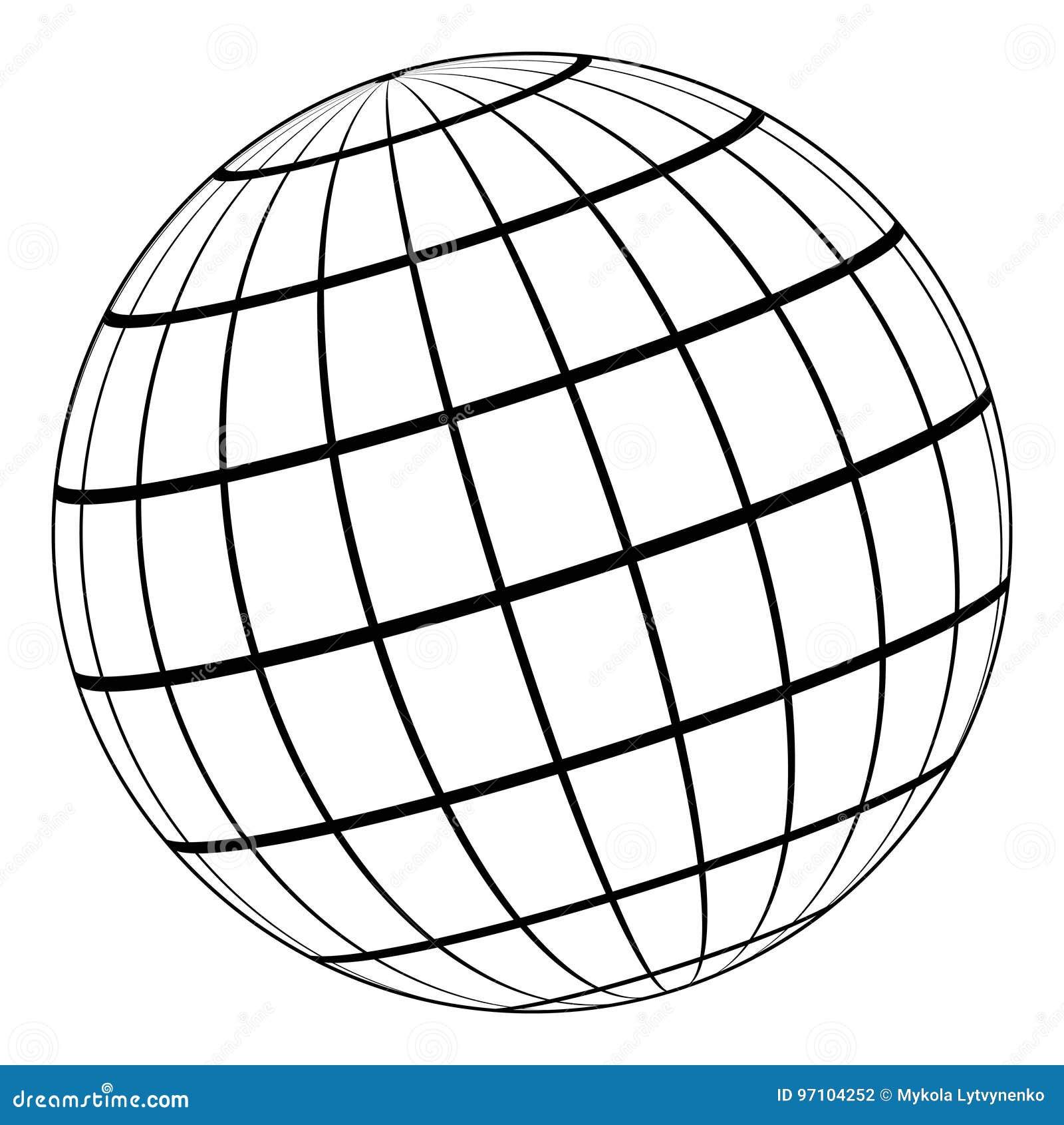 Modell för jordklot 3D av jorden eller planeten, modell av den himmelska sfären med koordinerat raster