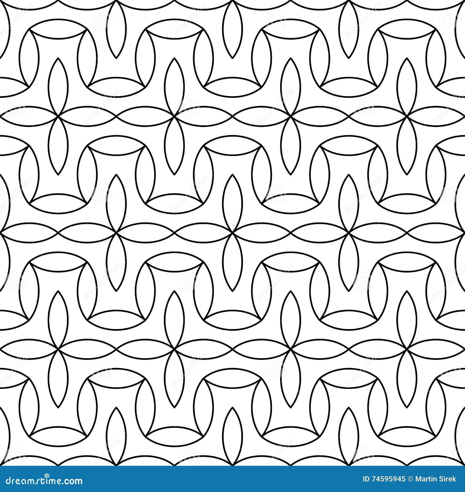 Modell för modern abstrakt geometri för vektor blom- svartvit sömlös geometrisk bakgrund