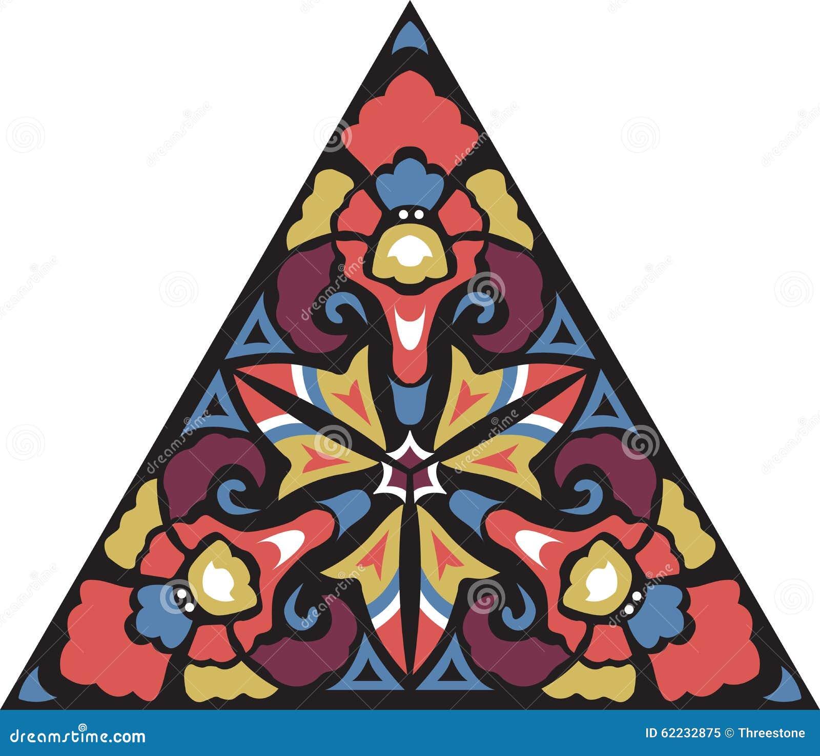 Modell för orientalisk traditionell blomma för vektor triangulär