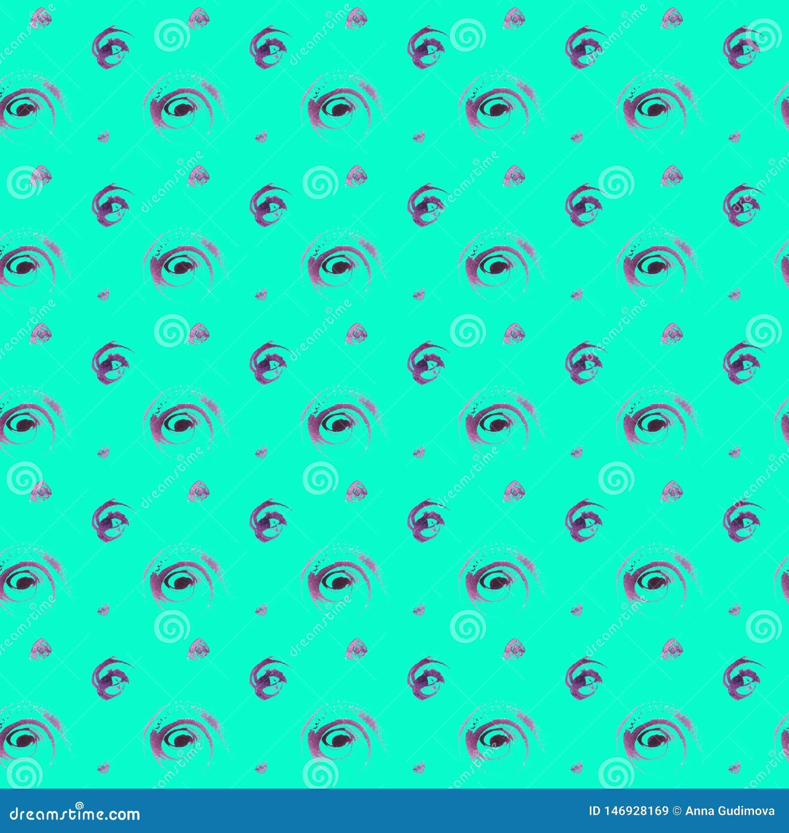 Modell för prickar för sömlös vattenfärg för hand utdragen färgrik purpurfärgad