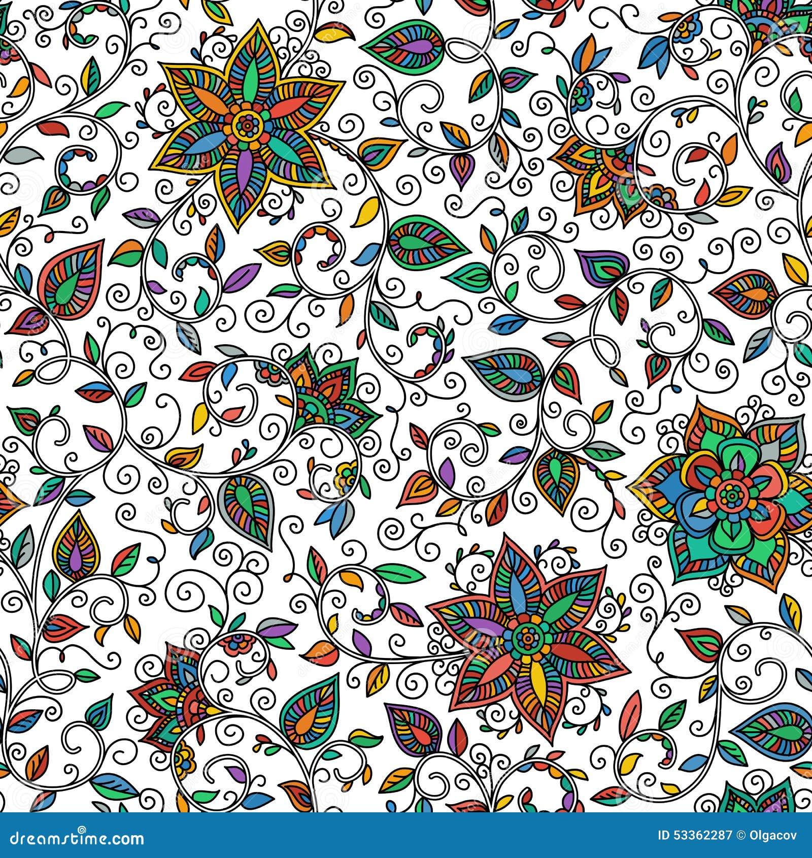 Modell för sömlös färg för vektor blom-