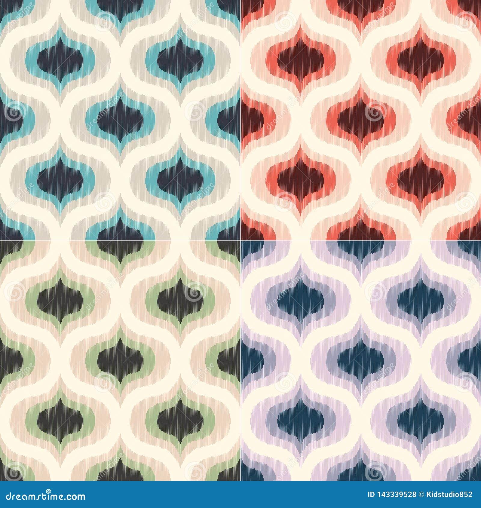 Modell för tapet för Retro mitt- århundrade70-tal geometrisk Sömlös bakgrund för skraj färgrik textur