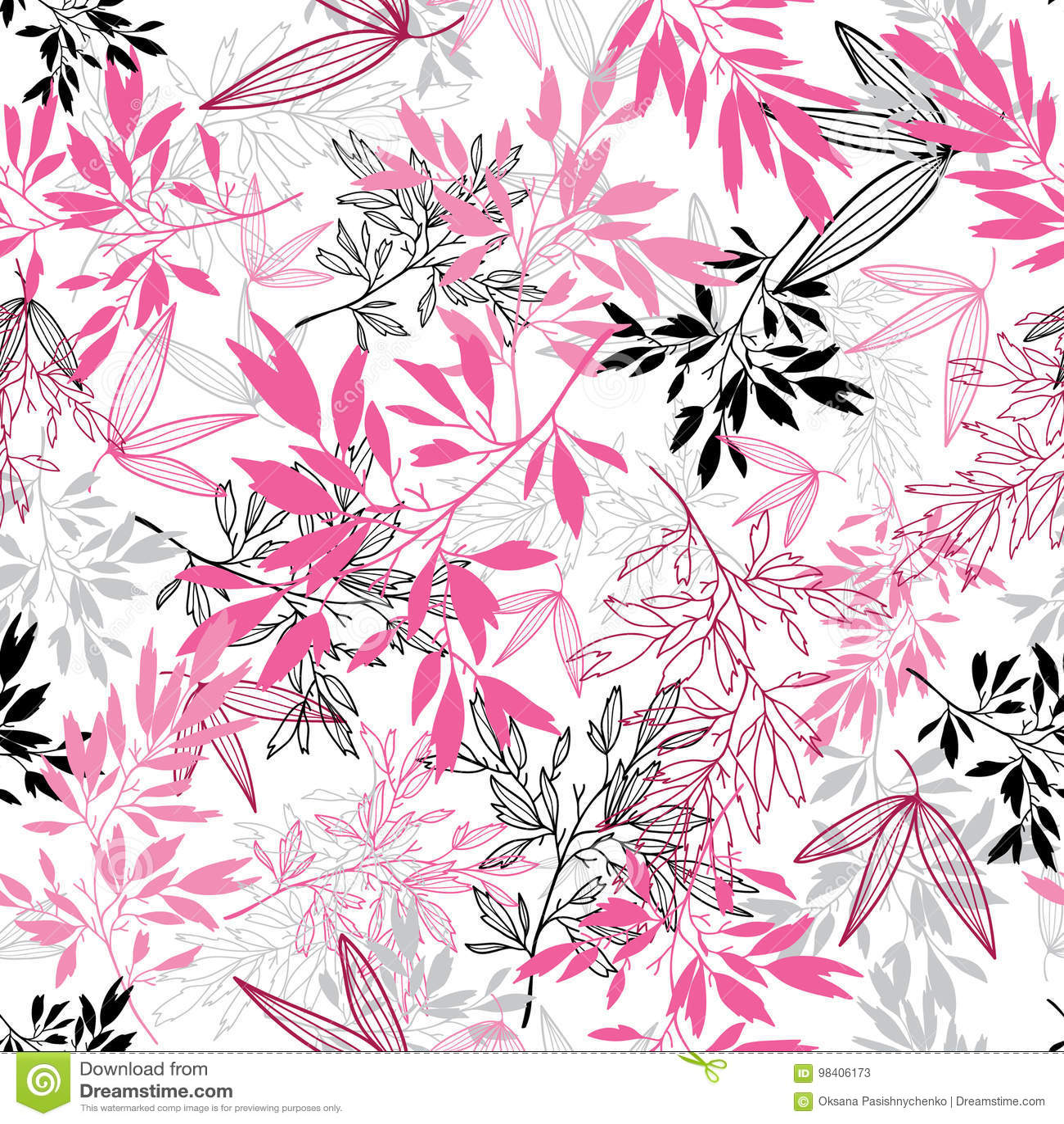 Modell för tropisk sommar för sidor för vektorrosa färgsvart sömlös med tropiska magentafärgade växter och sidor på vit bakgrund