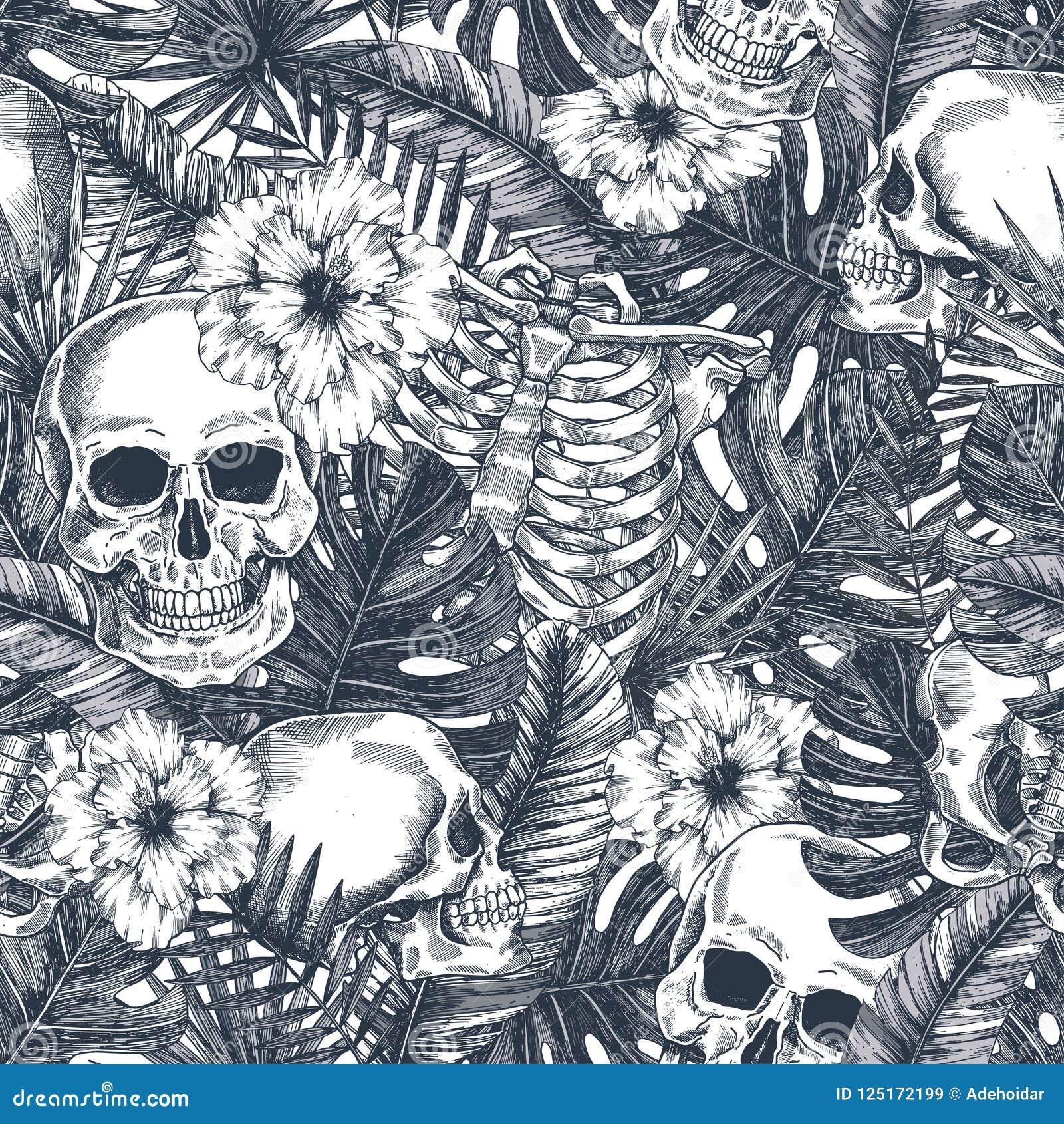 Modell för tropisk tappning för allhelgonaafton sömlös Bakgrund för Creppy djungelskalle Blom- anatomi