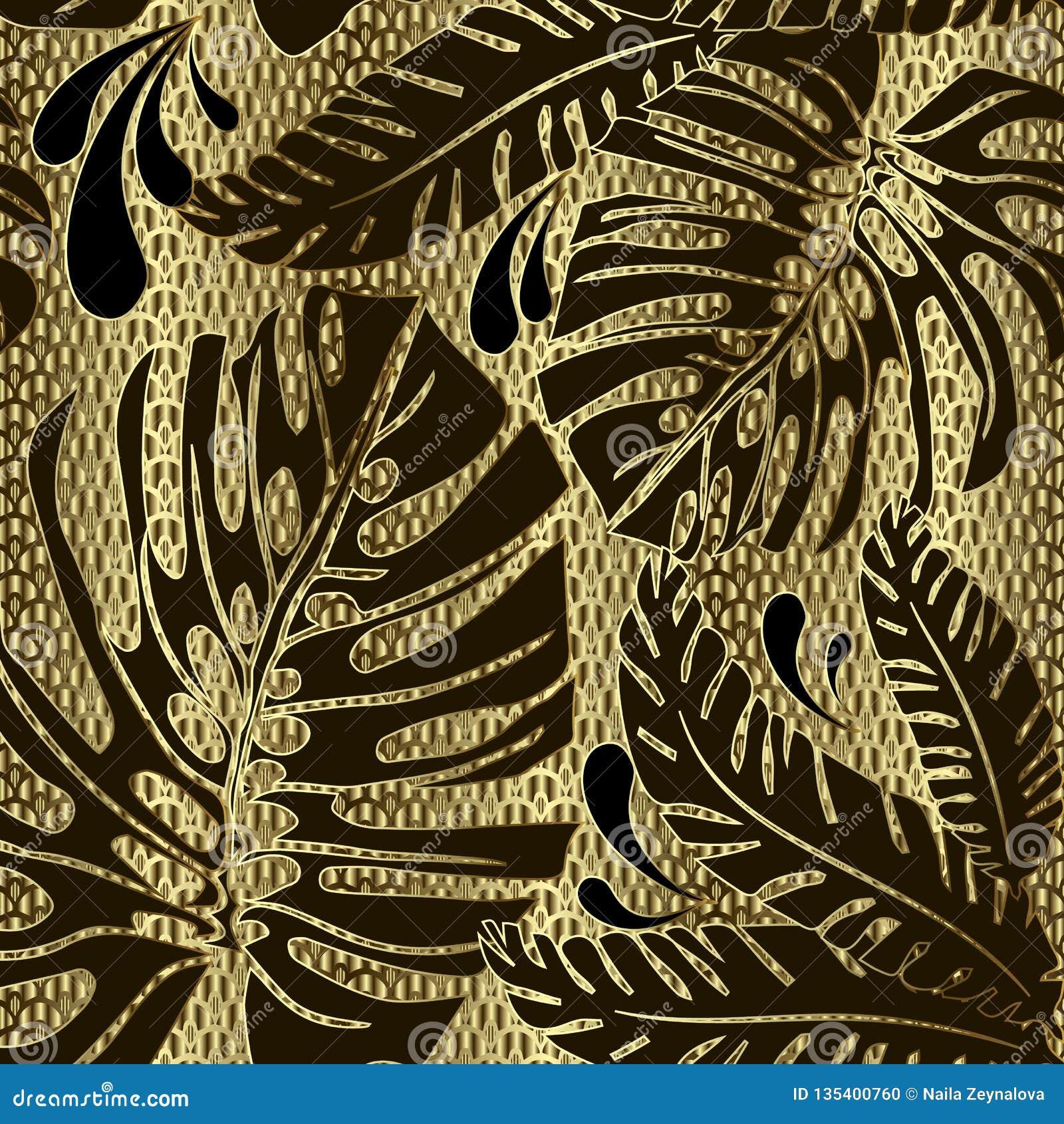 Modell för utsmyckad vektor för palmblad sömlös Dekorativt guld- texturerad bakgrund 3d för raster galler Dekorativ blom- repetit