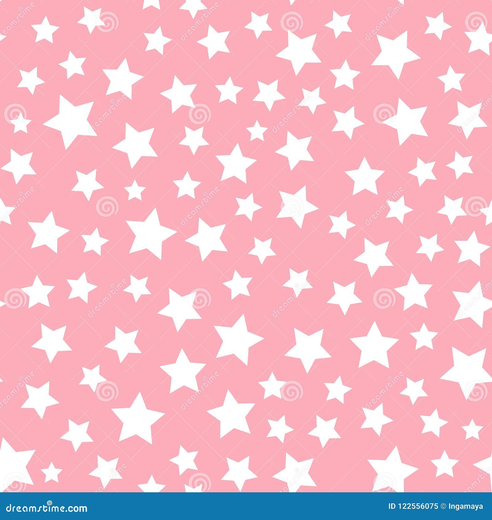 Modell för vit stjärna för vektor som sömlös isoleras på rosa bakgrund