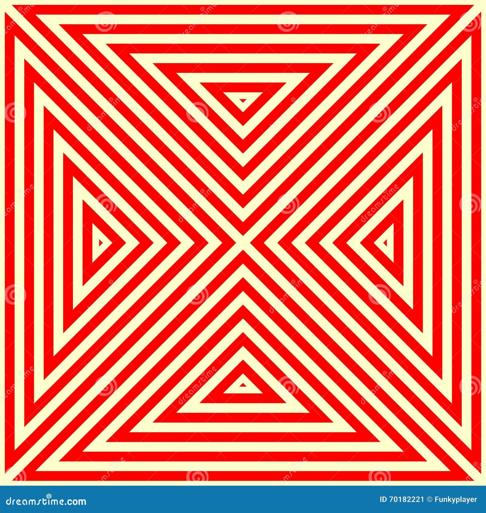 Modell med den symmetriska geometriska prydnaden Randig röd vitabstrakt begreppbakgrund Abstrakt begrepp upprepade triangeltapete