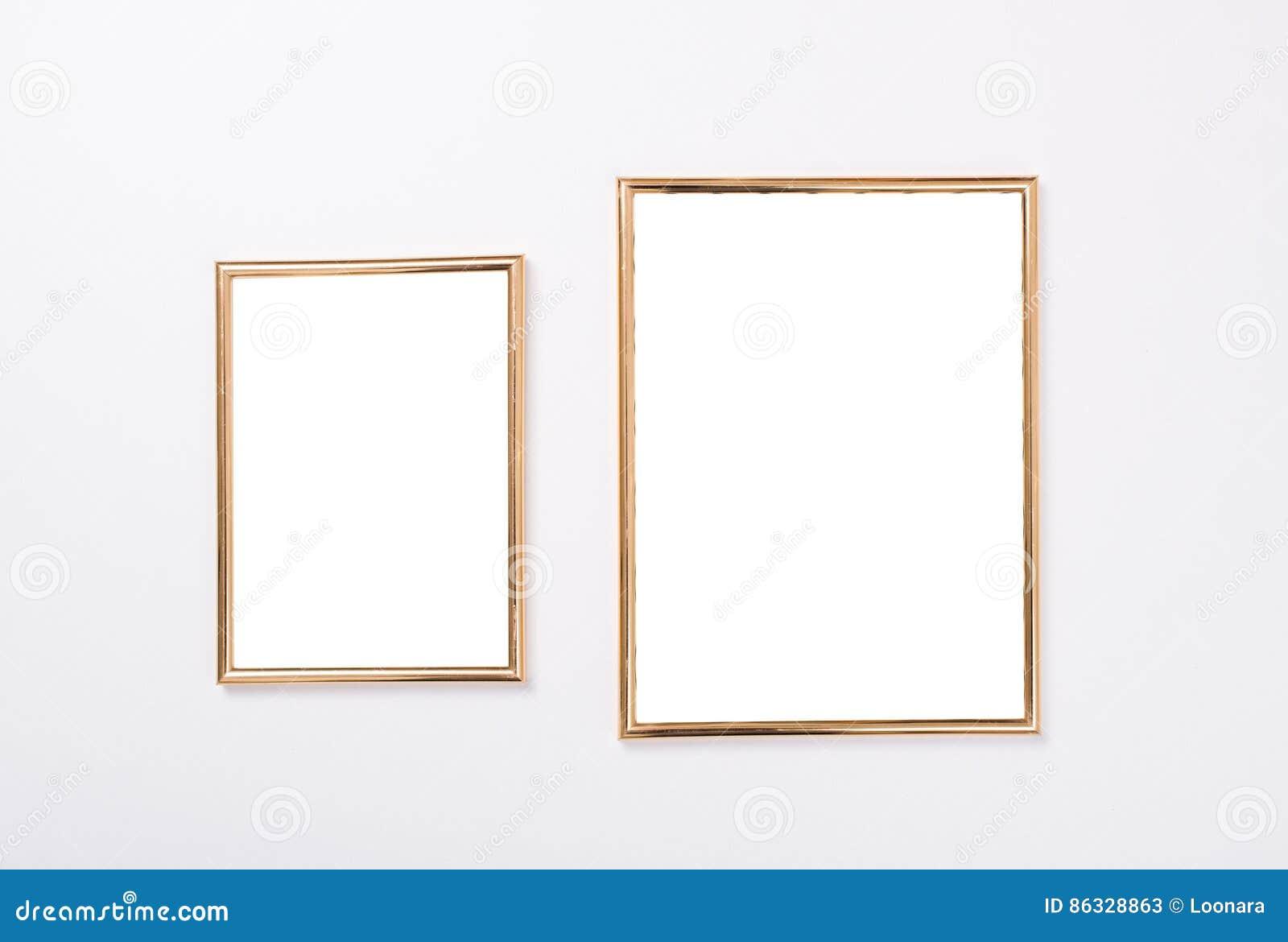 Modell Mit Zwei Goldenes Rahmen Stockbild - Bild von nahaufnahme ...