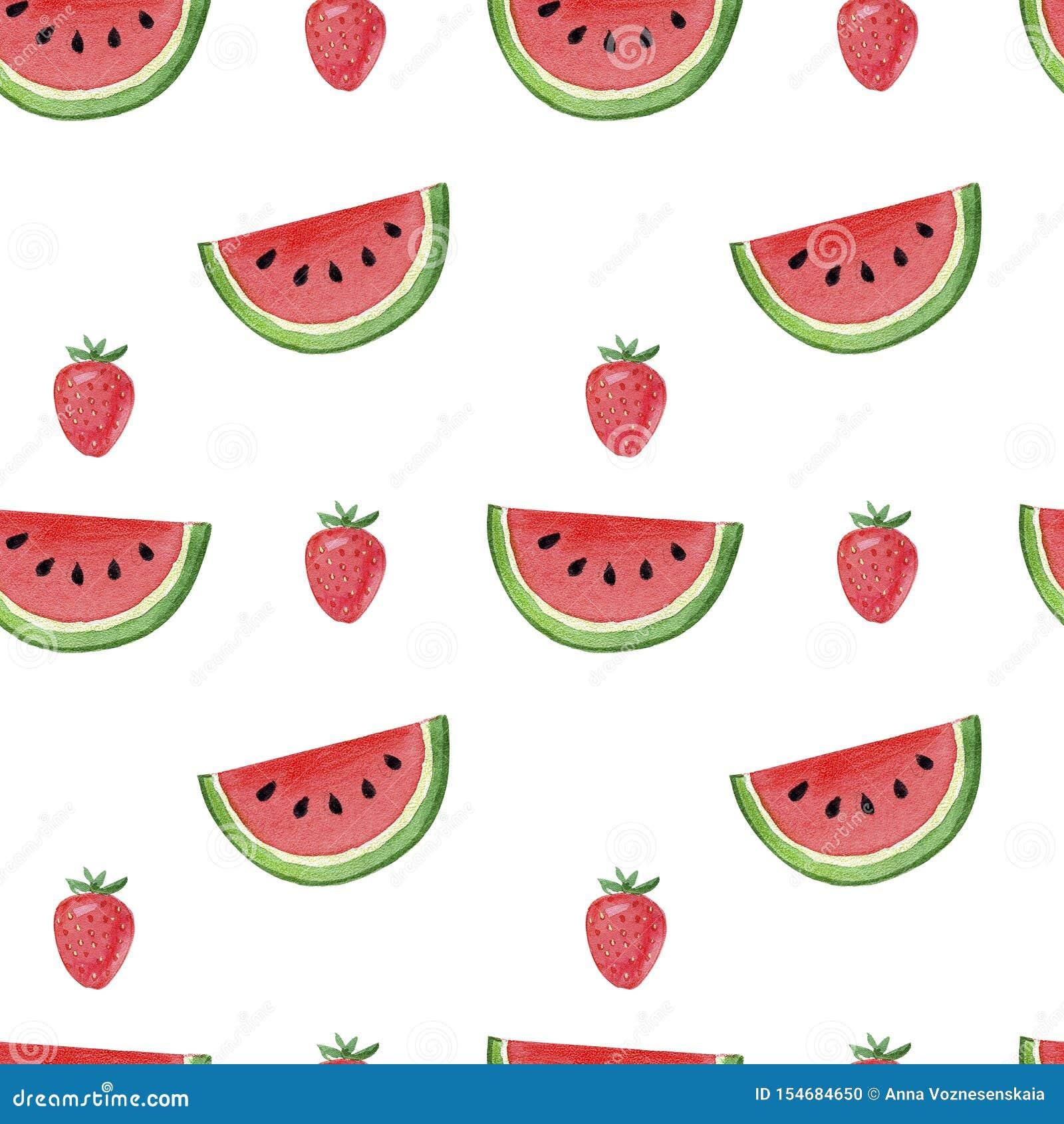 Modell, sömlös bakgrund, vattenmelon för utdragen vattenfärg för hand saftig och röd jordgubbe på vit bakgrund