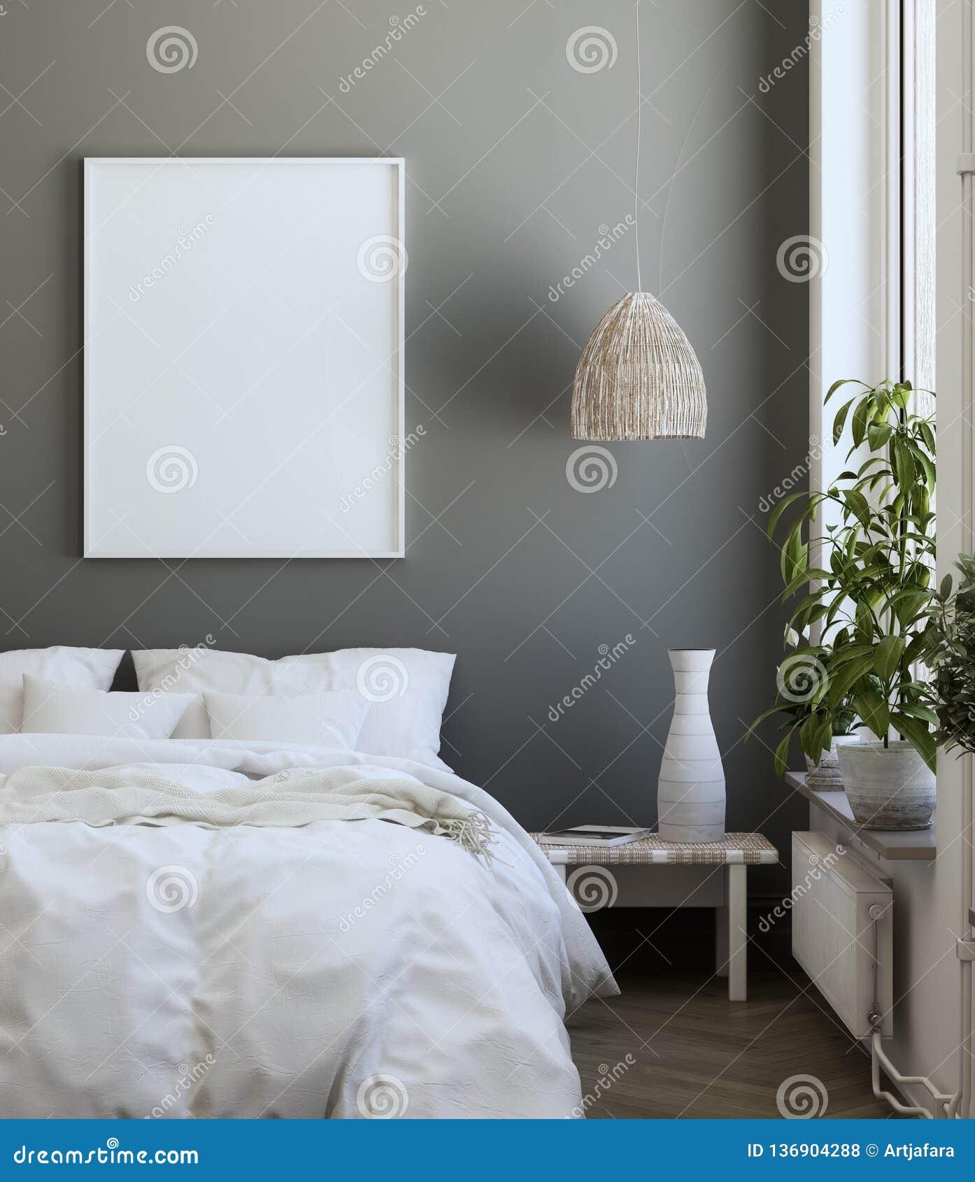 Modellaffischram i sovrum, skandinavisk stil