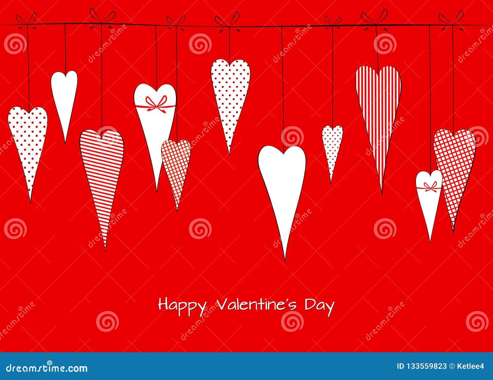 Modellen med en teckning av klotterhjärtor i ärtor gjorde randig dekorativ romantisk bakgrund för buren för valentins kort för da
