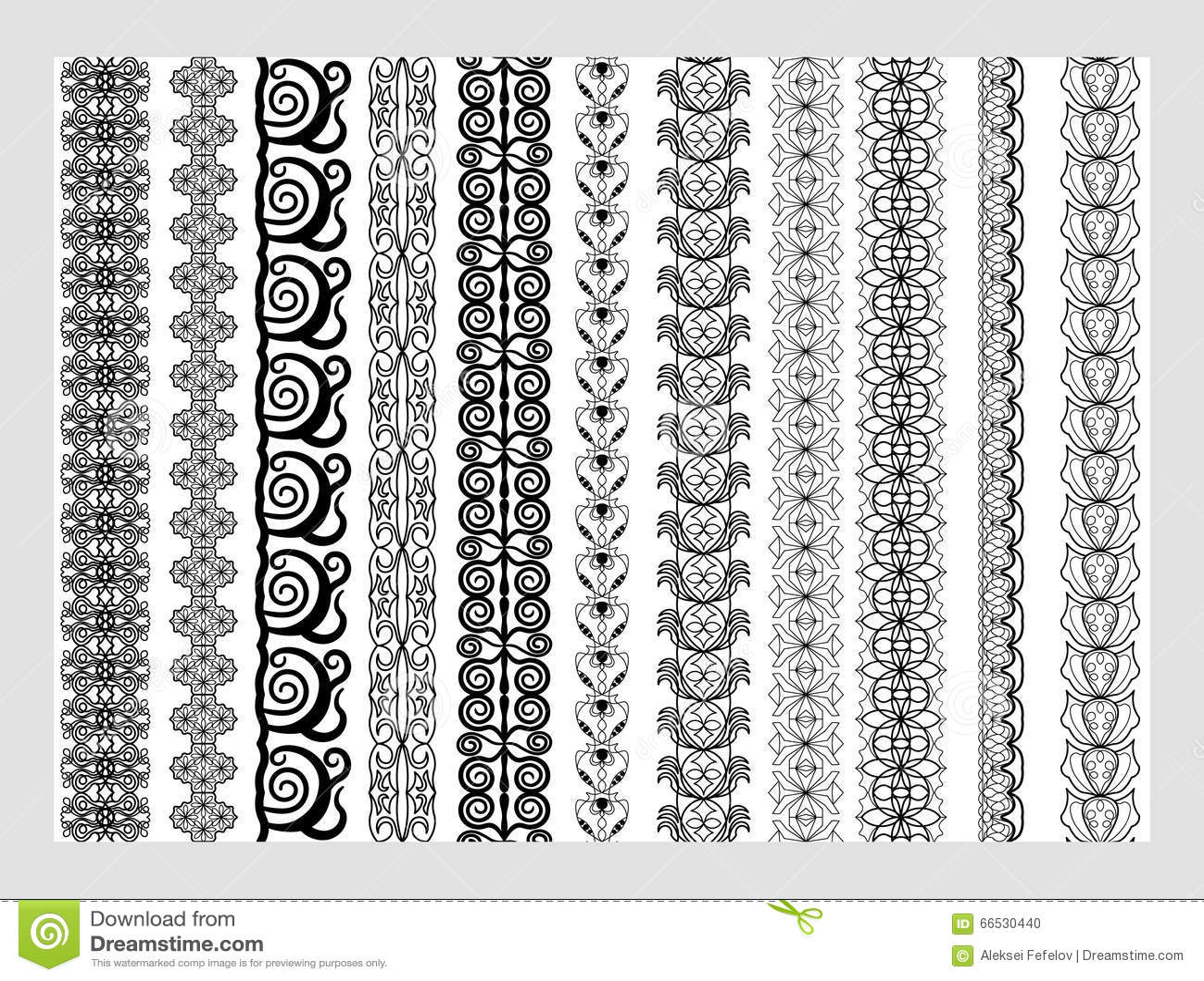 Modeller för beståndsdelar för indierHenna Border garnering i svartvita färger