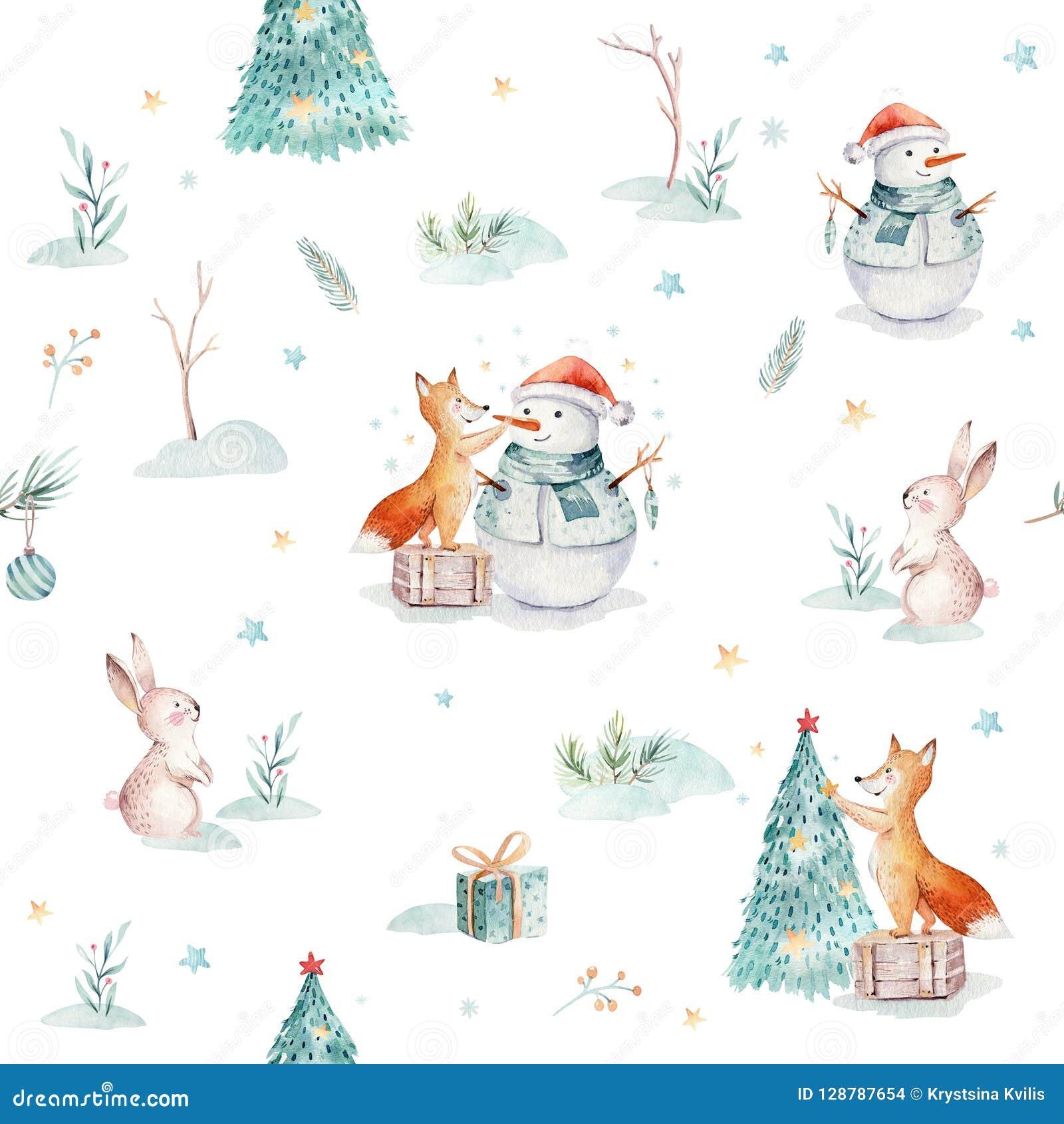 Modeller för glad jul för vattenfärg semestrar sömlösa med gåvan, snögubbe, gulliga djur lurar, kanin och igelkotten