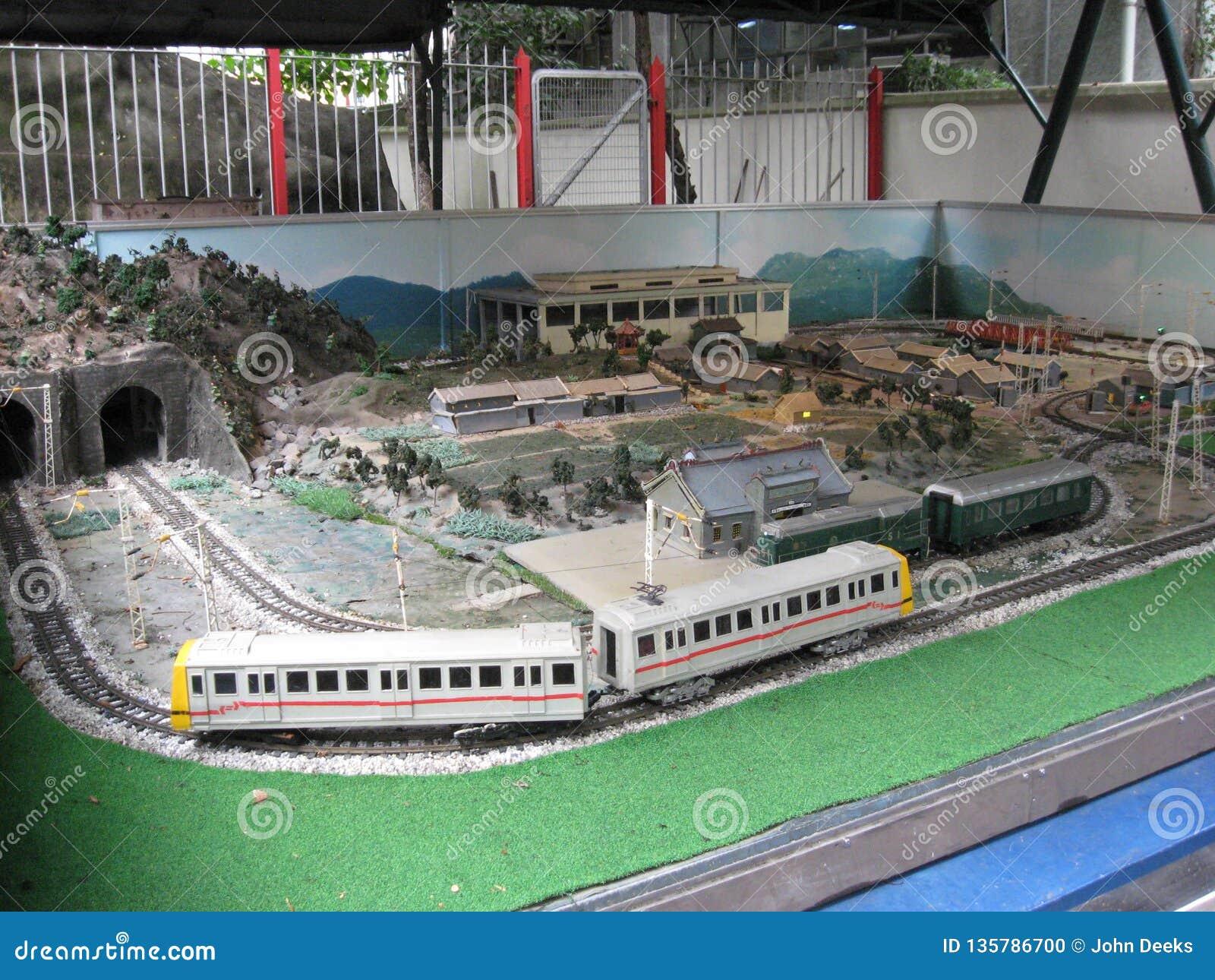 Modellera järnvägen på Hong Kong det järnväg museet, Tai Po