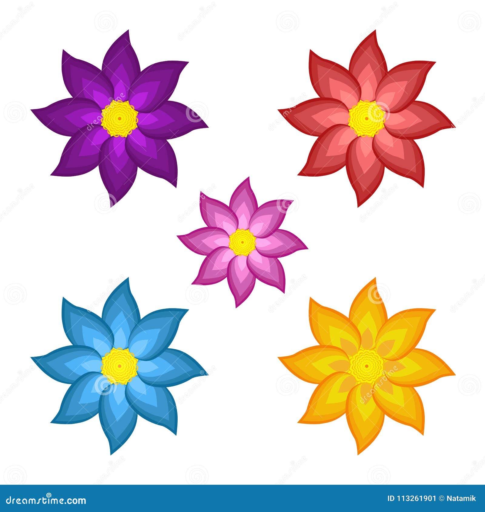 Fiori 5 Lettere.Modelli Dei Fiori Stilizzati Colorati Luminosi Illustrazione Di