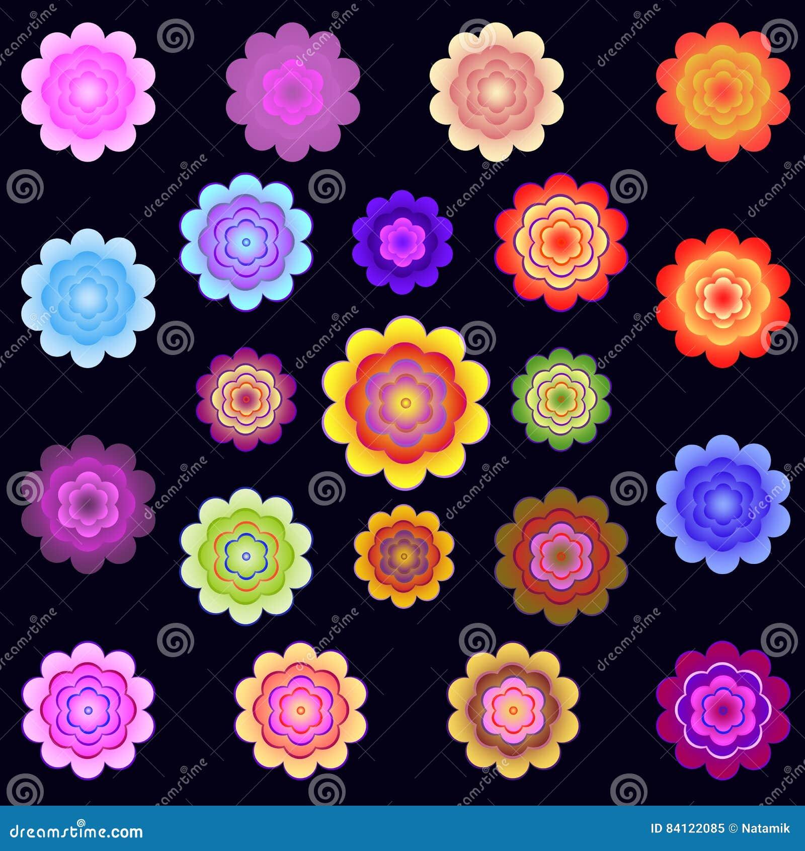 Modelli dei fiori stilizzati colorati luminosi for Fiori stilizzati colorati