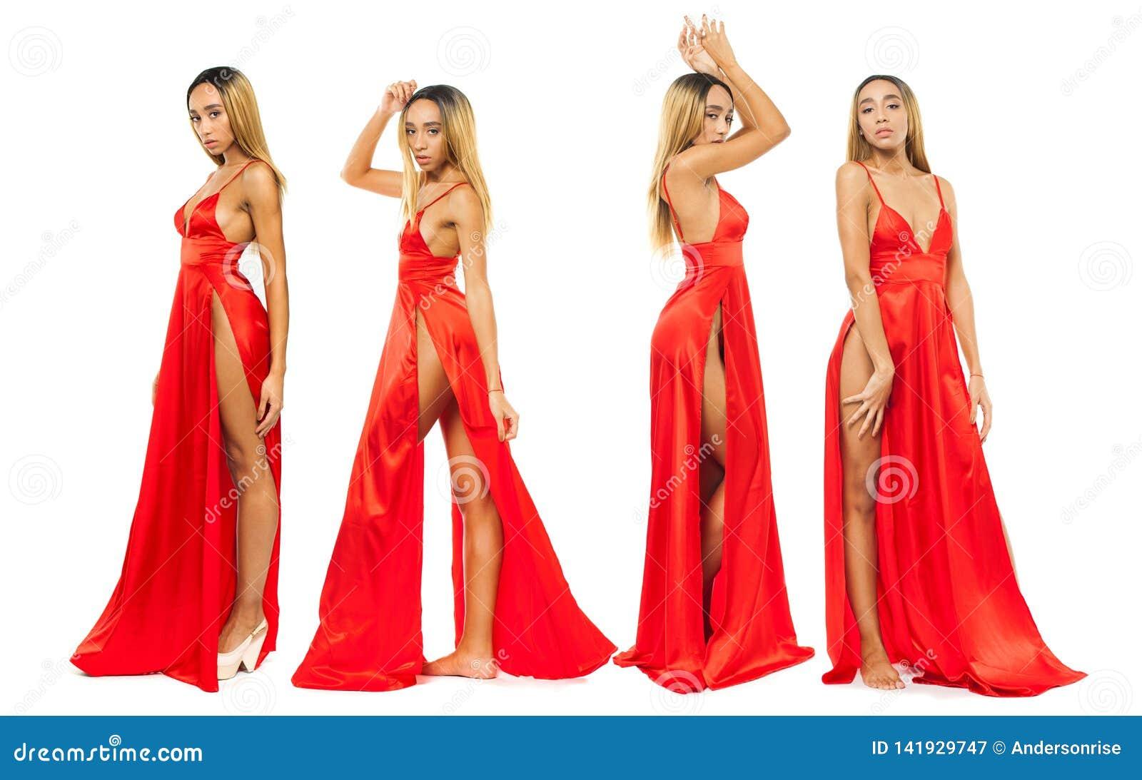 cheap for discount 29ded f79ee Modelli Del Collage Giovani Donne Africane In Vestito Rosso ...