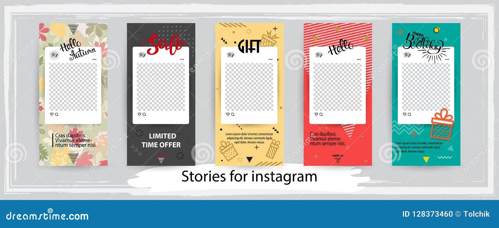 Modelli editabili d avanguardia per le storie del instagram, illustr di vettore