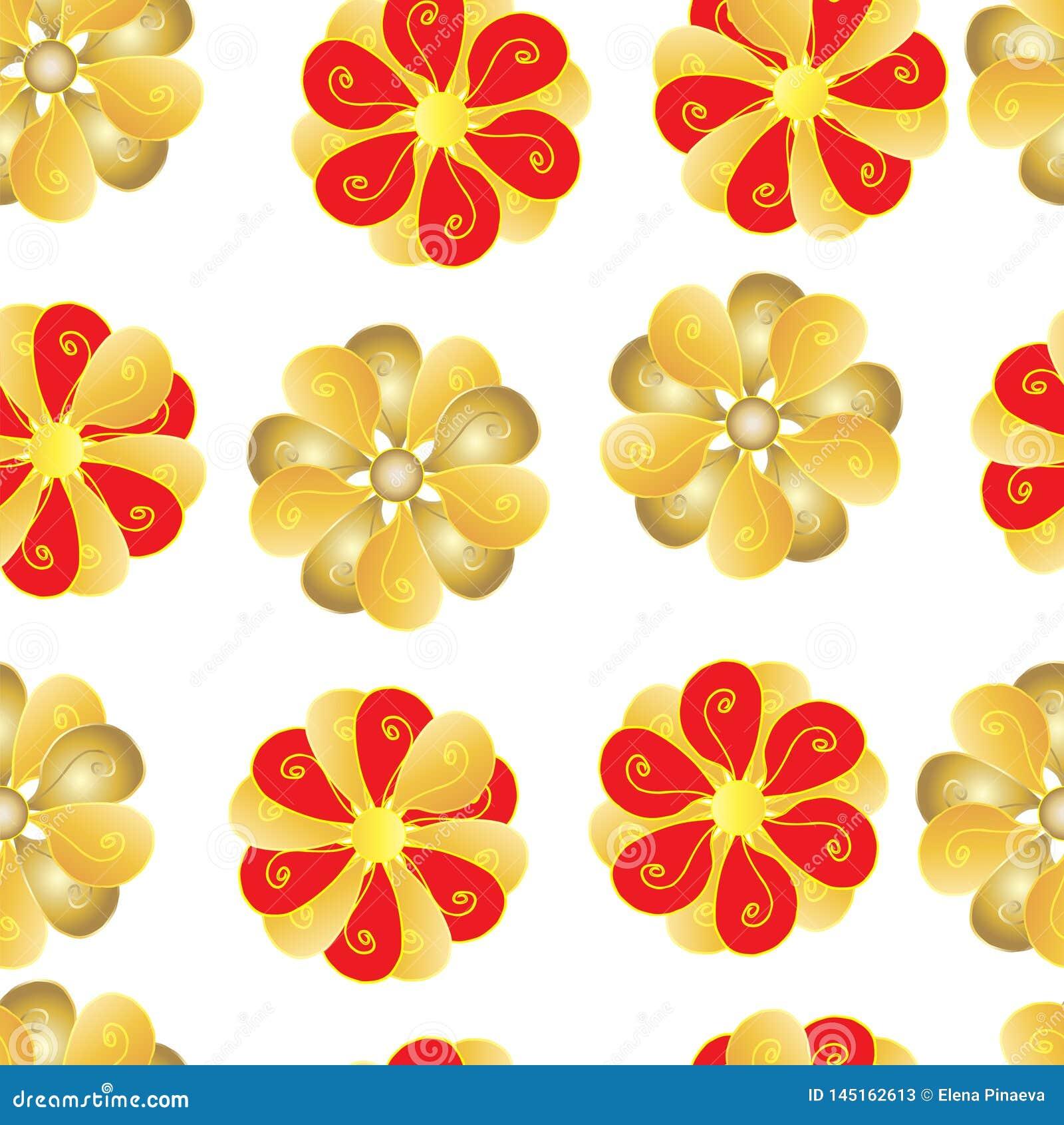 Modelli senza cuciture dei fiori rossi e gialli su fondo bianco