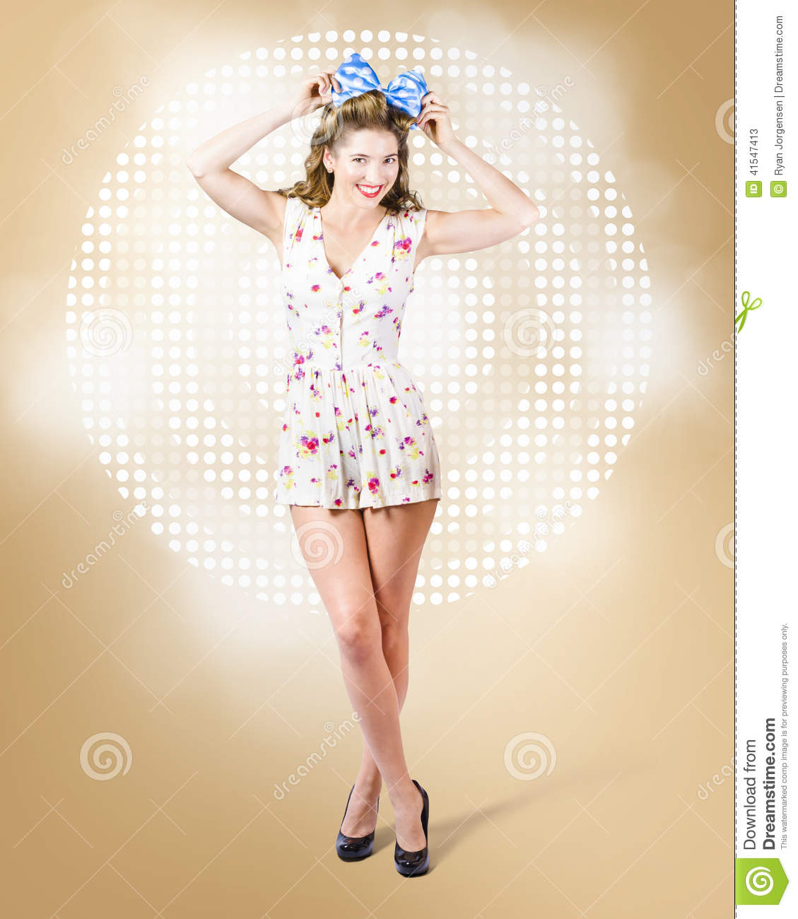 Modelling Pinup Girl Wearing Bow Hair Accessory Stock Photo Image 41547413