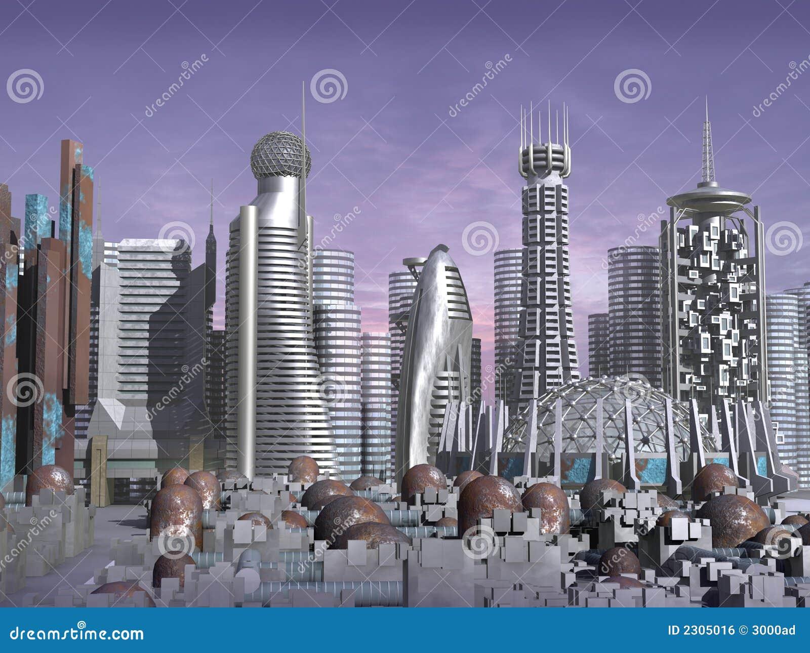 Modello 3d della città di fantascienza