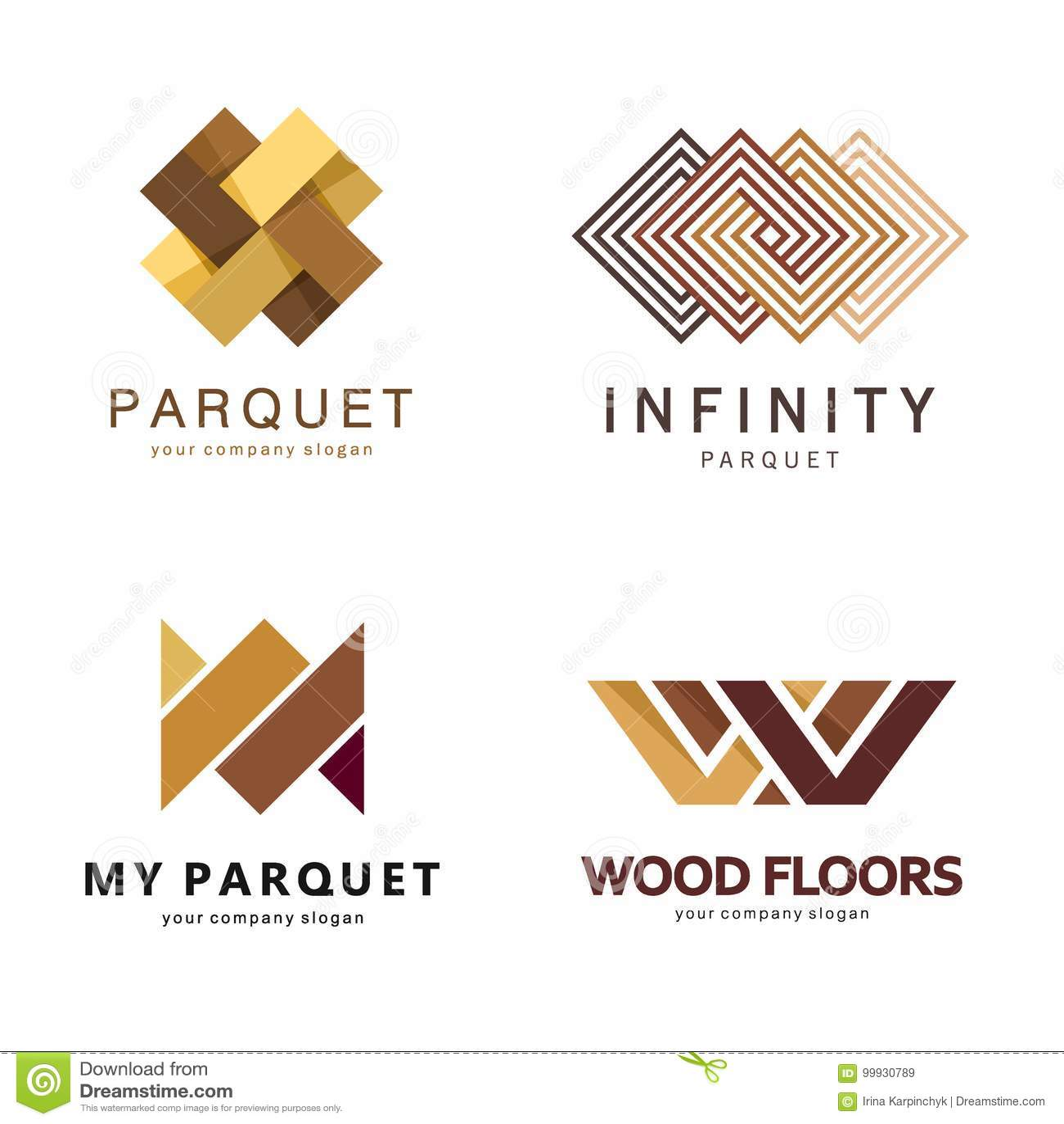 Modello astratto di logo di vettore Progettazione di logo per il parquet, laminato, pavimentazione, mattonelle