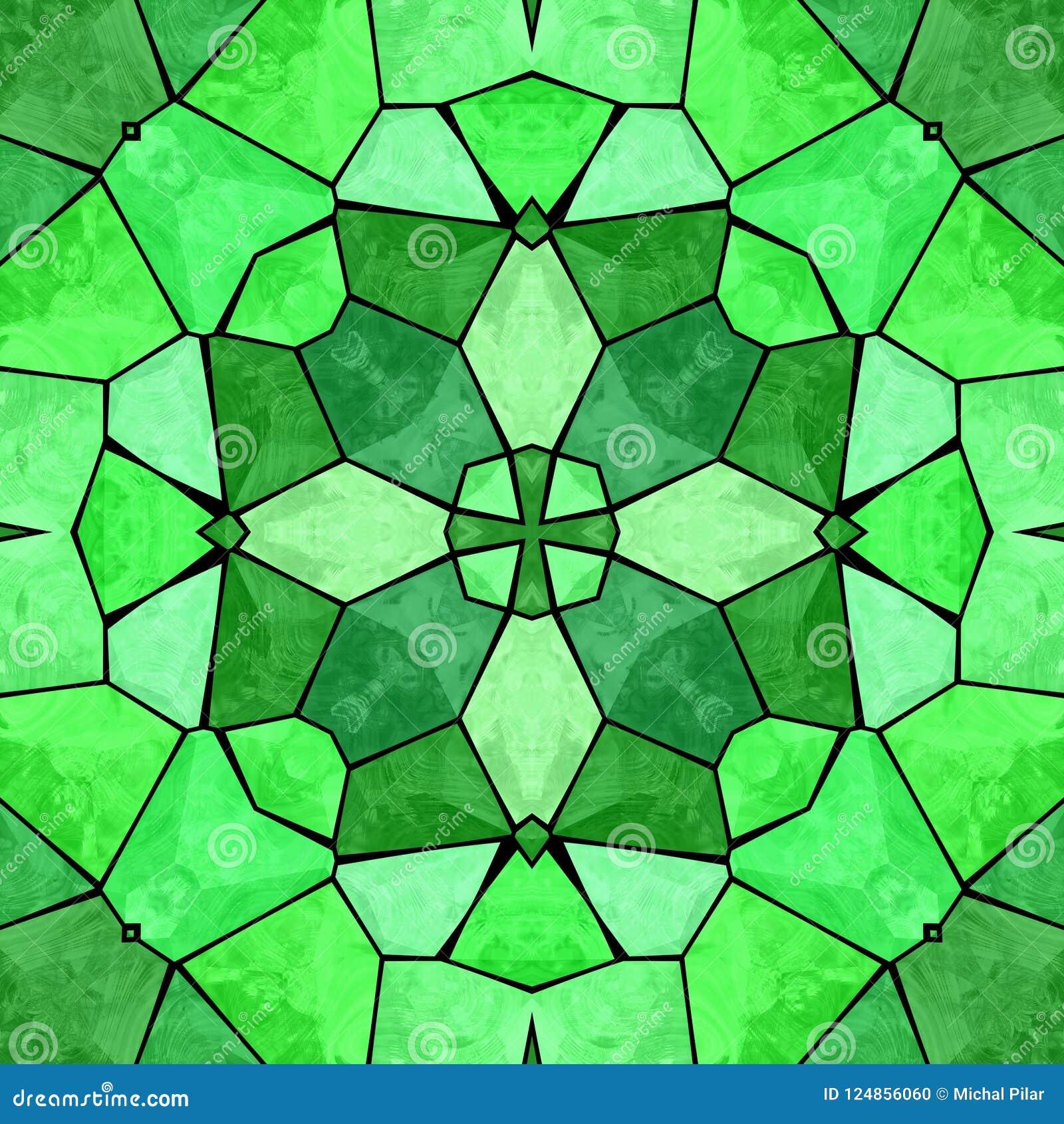Modello astratto multicolore caleidoscopico verde