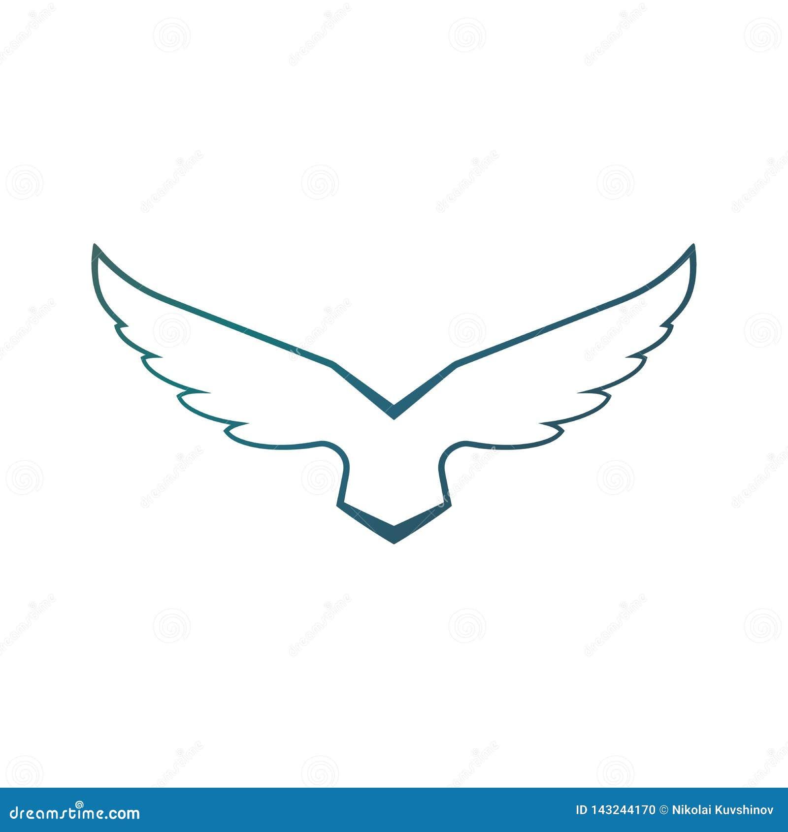 Modello aumentante in ascesa di vettore di progettazione di logo delle ali del falco Uccello araldico corporativo di lusso di Eag