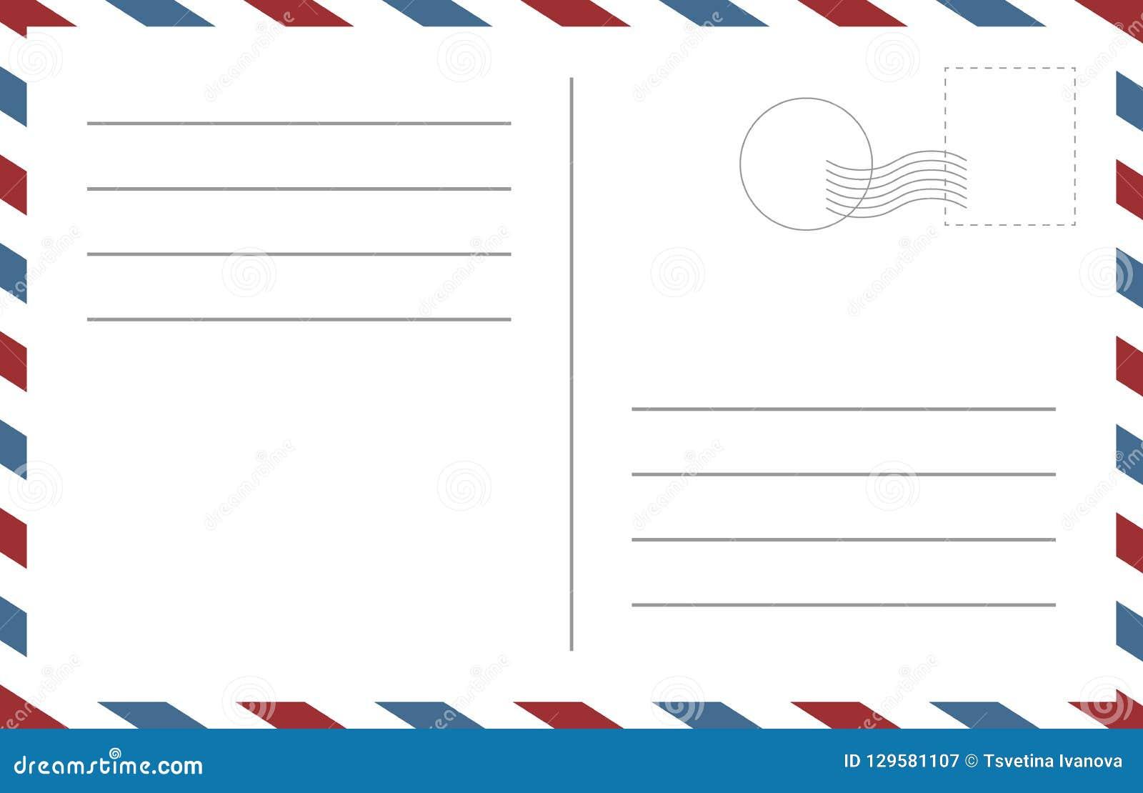 Modello in bianco della cartolina Parte di un modello dello spazio in bianco di vettore di progettazione del postcart
