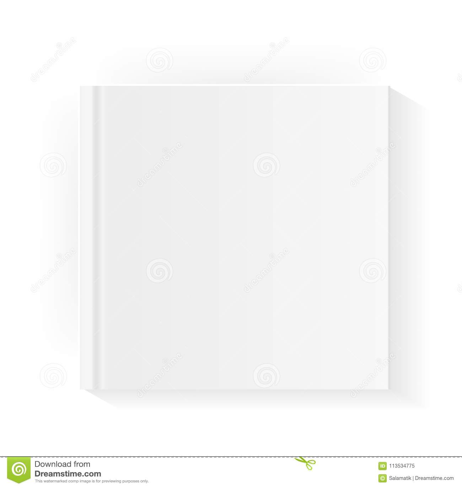 Modello in bianco della copertina di libro quadrato Derisione sulla rivista chiusa o sul taccuino Isolato su priorità bassa bianc