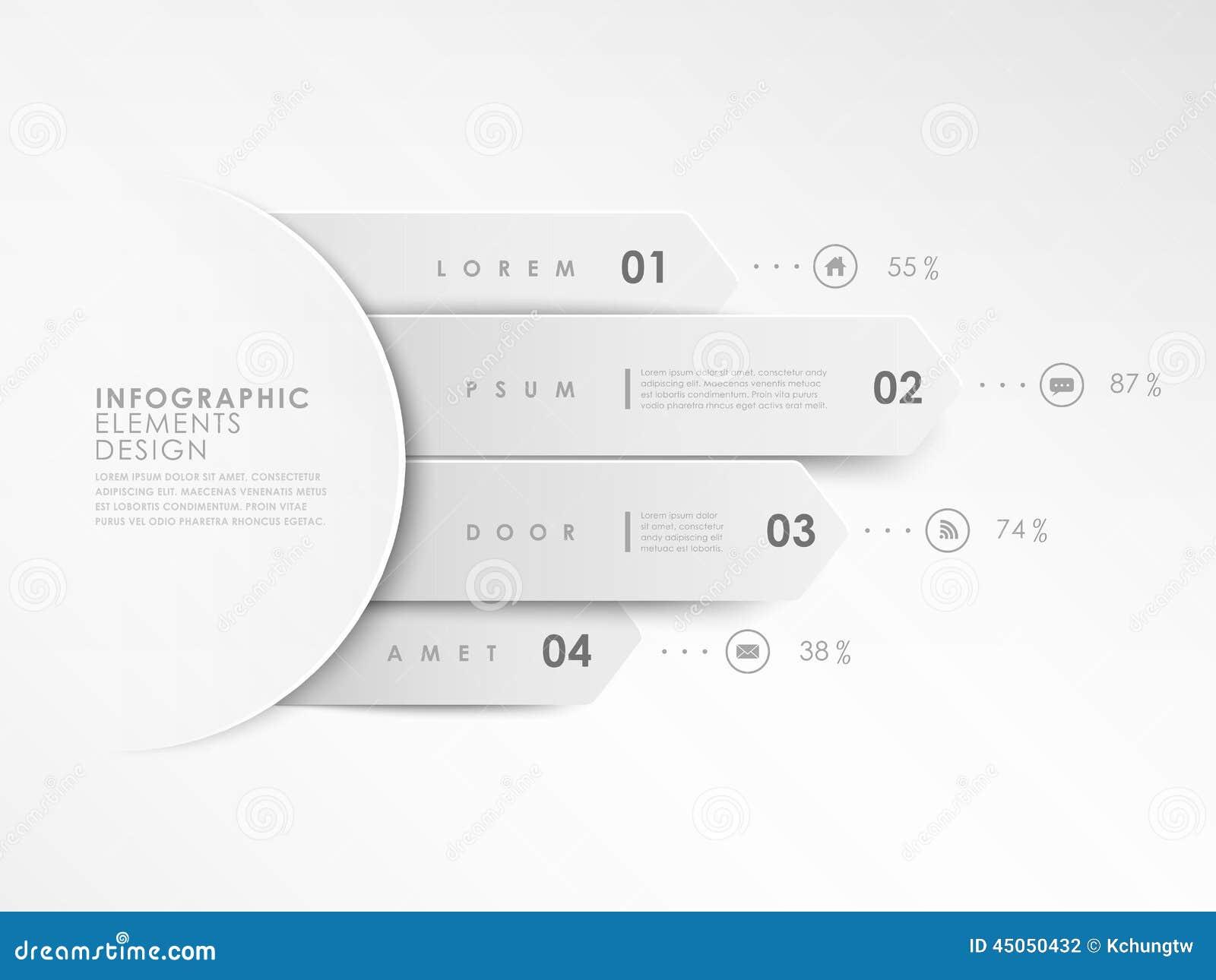 Modello bianco moderno delle insegne di progettazione infographic