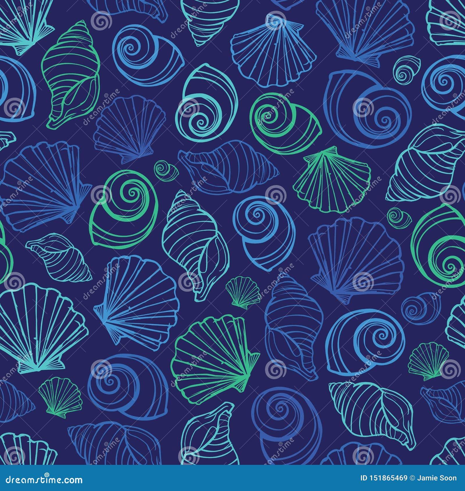Modello blu di ripetizione delle conchiglie di vettore Adatto ad involucro, a tessuto ed a carta da parati di regalo