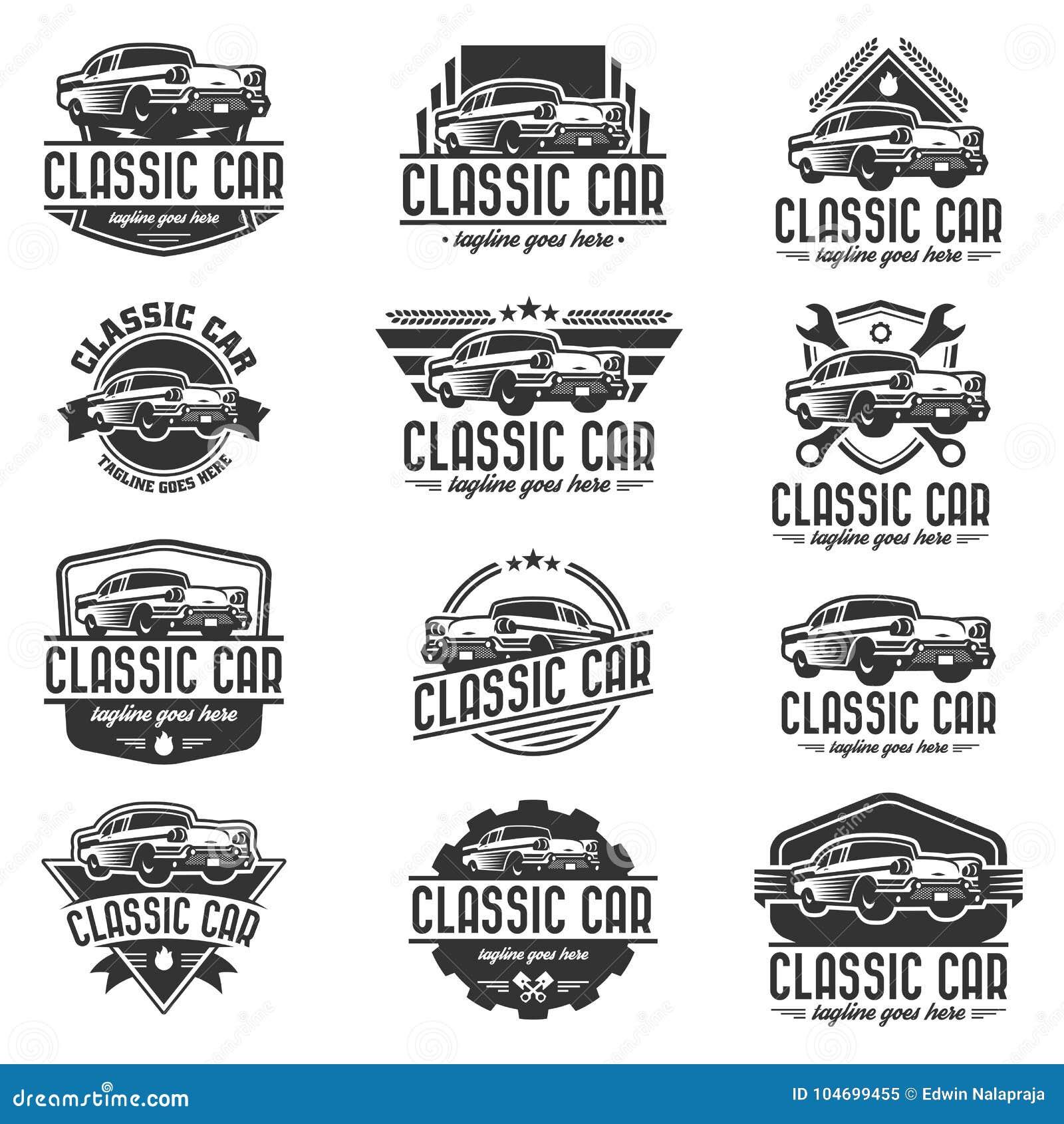 Modello classico di logo dell automobile, logo d annata dell automobile, retro logo dell automobile