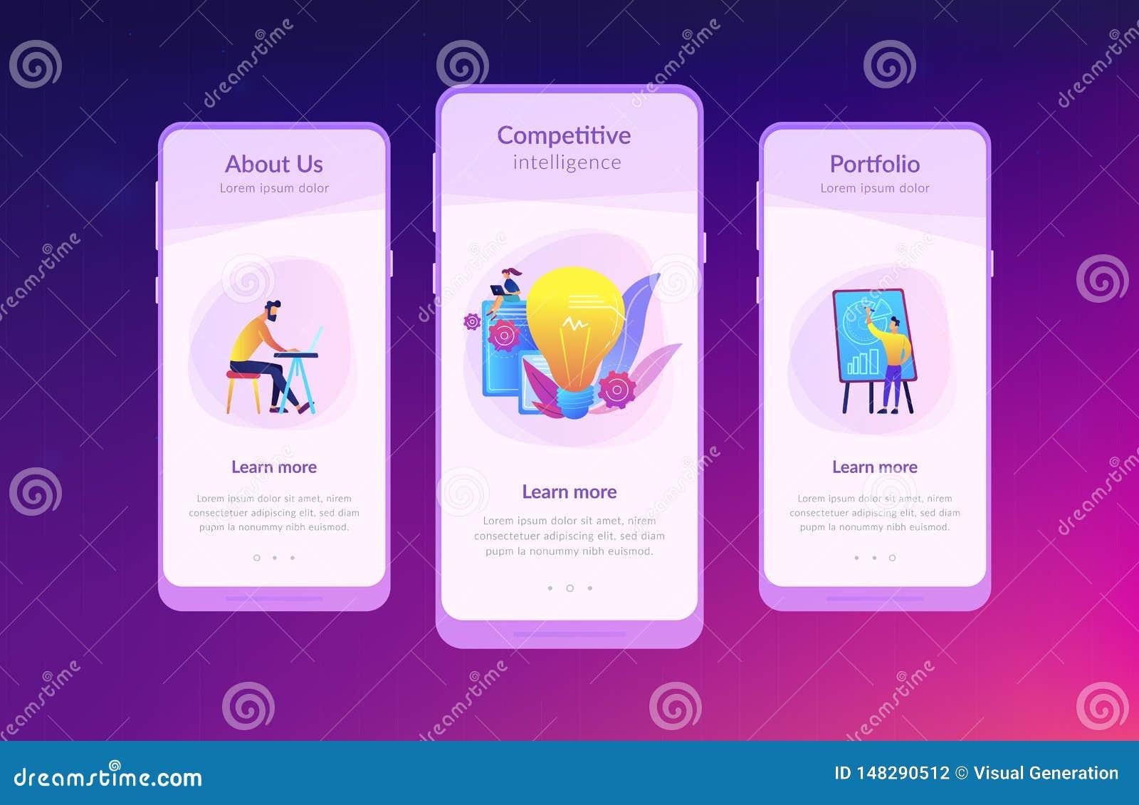 Modello competitivo dell interfaccia del app di intelligenza