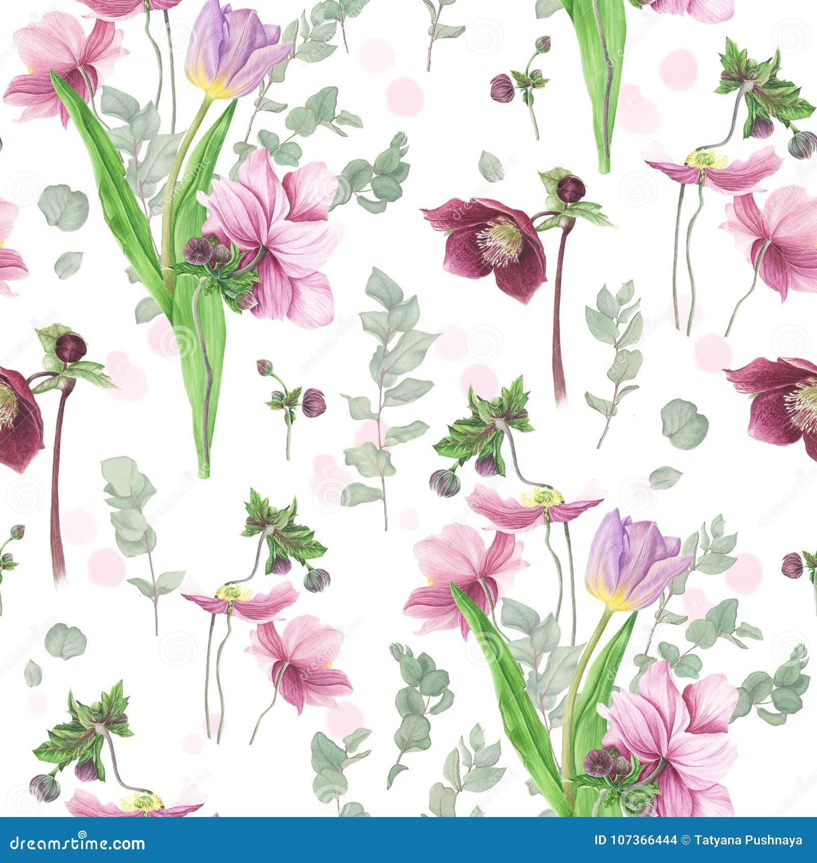 Modello con i fiori della molla, pittura dell acquerello