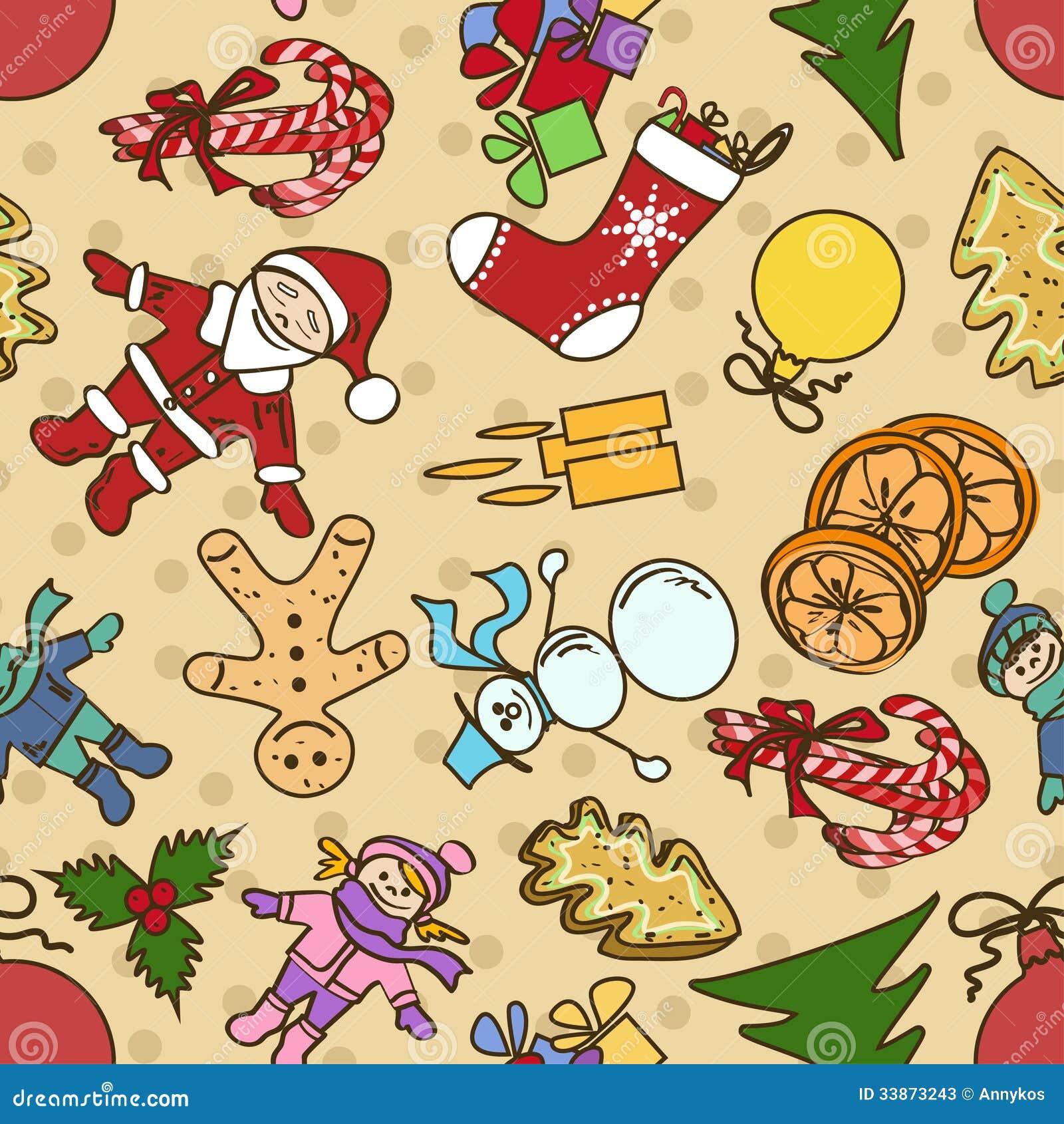 I Simboli Del Natale.Modello Con I Simboli Del Natale E Nuovo Senza Cuciture