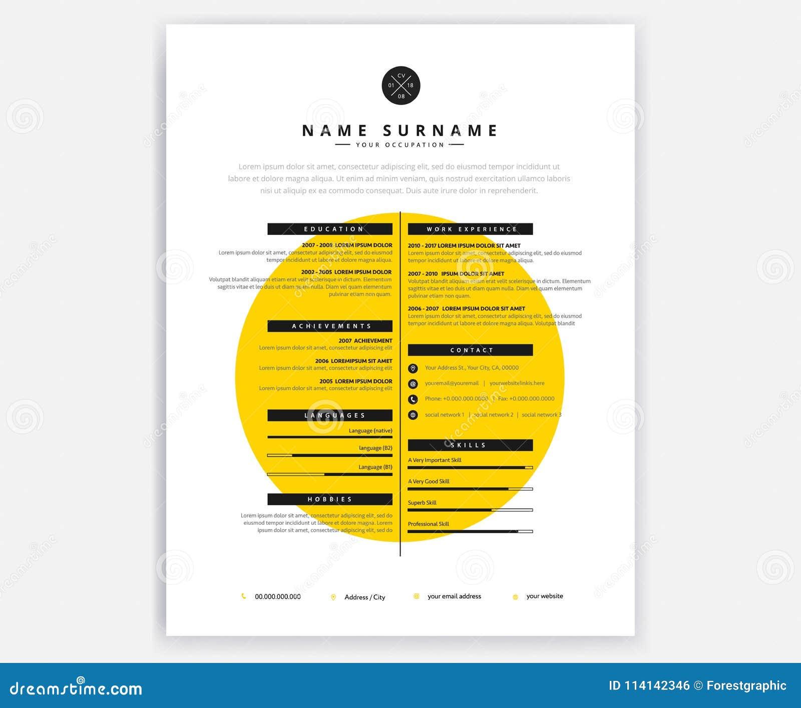 modello creativo di progettazione di giallo del cv di curriculum vitae per artistico
