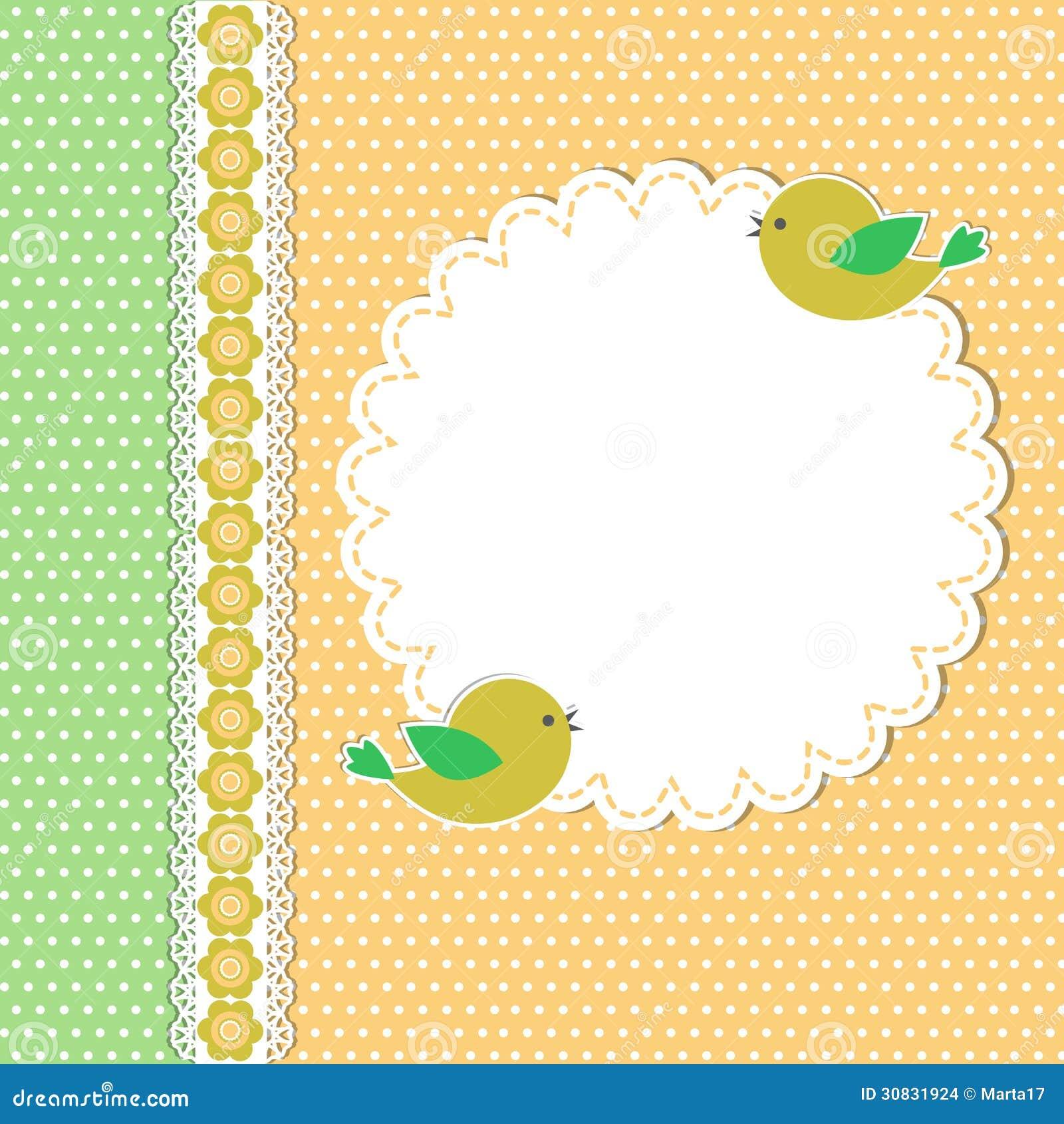 Modello d annata con due uccelli