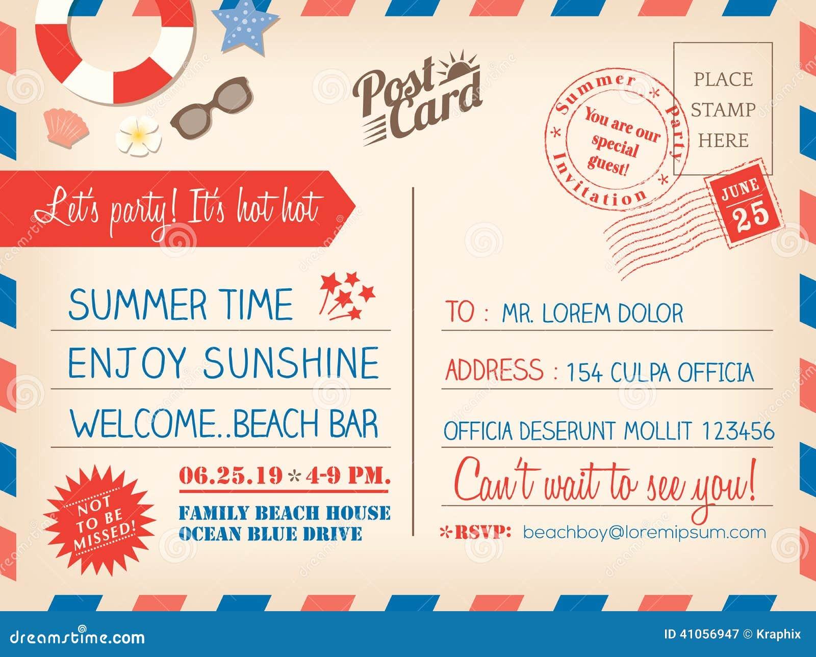 Modello d annata del fondo della cartolina di vacanza estiva per il invitati