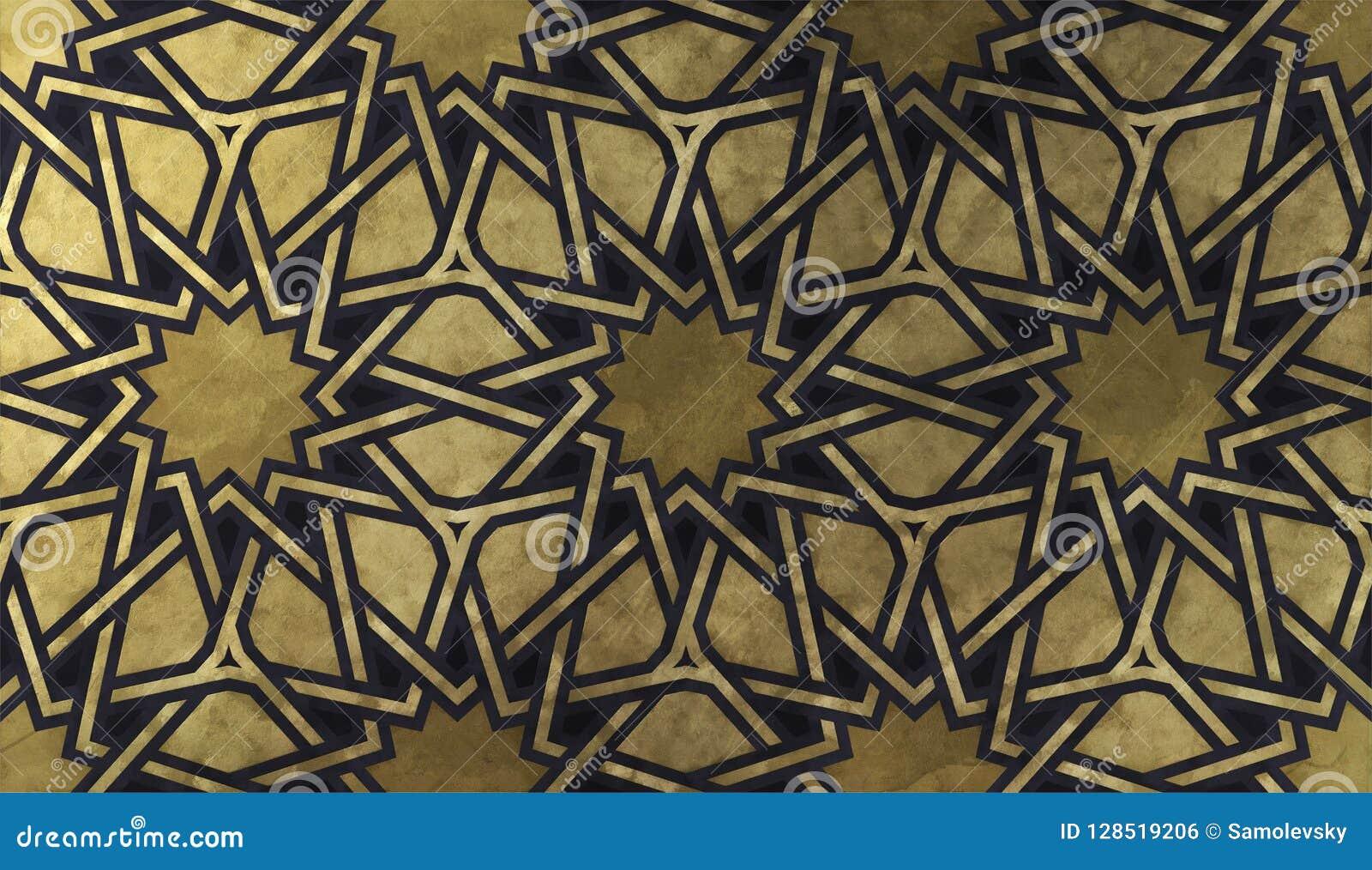 Modello decorativo islamico con struttura artistica dorata