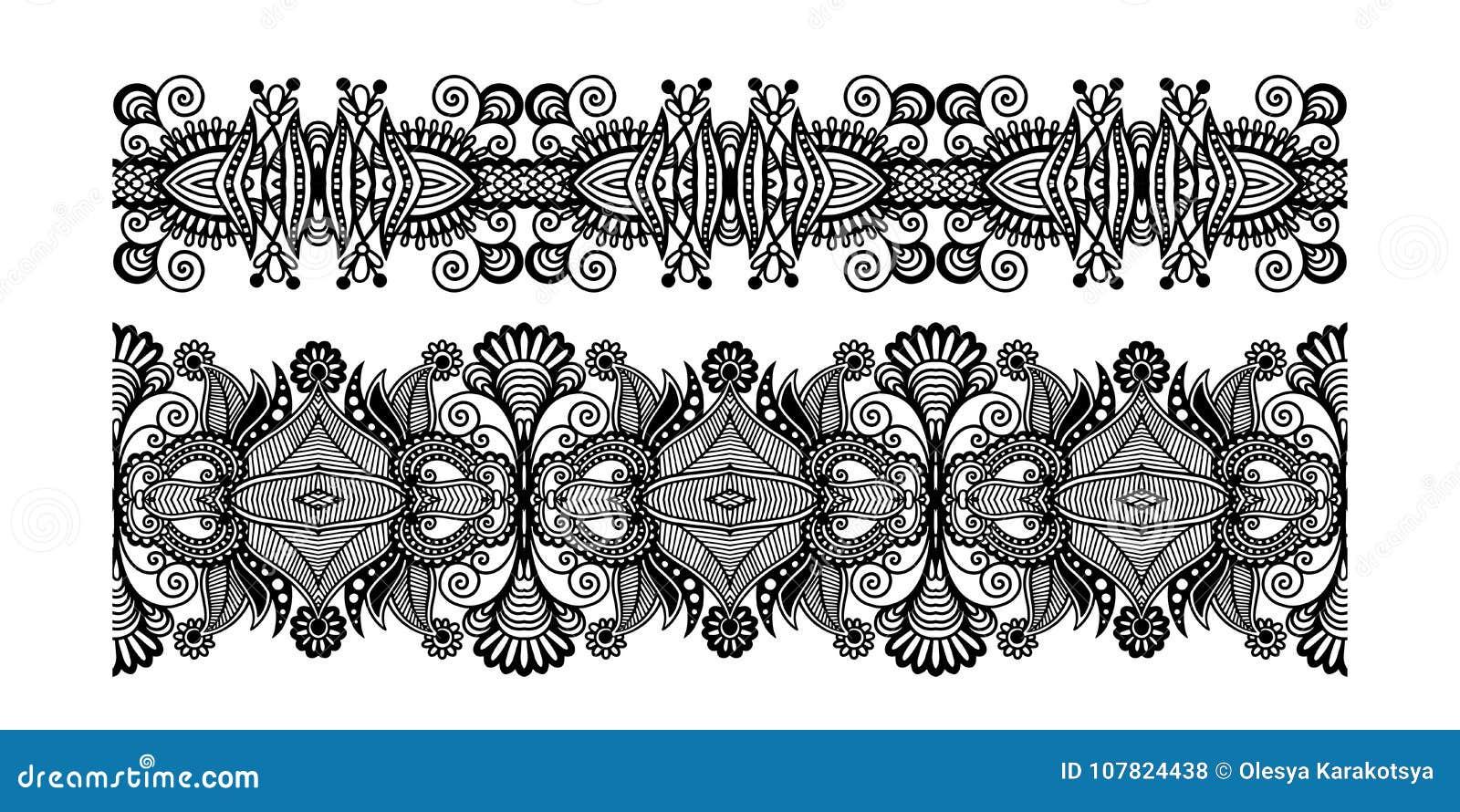Modello decorato decorativo della banda di progettazione, senza cuciture floreale etnico