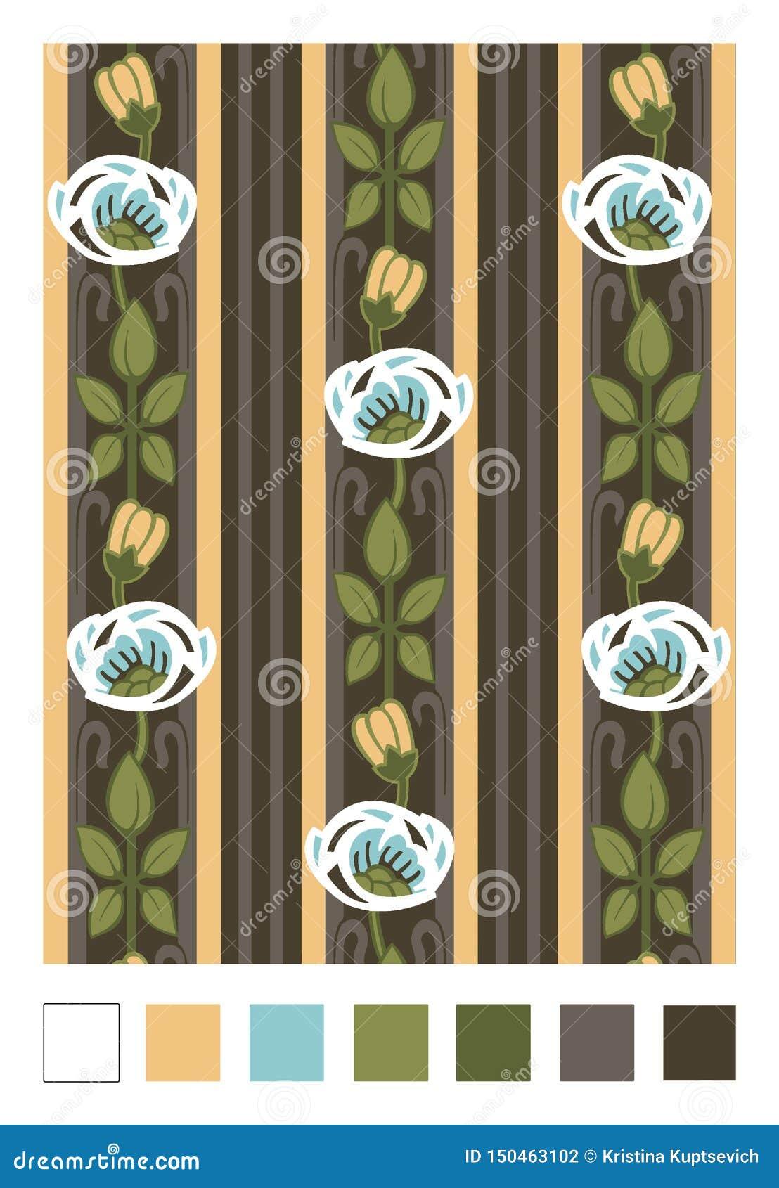 Modello dei cinorrodi e delle bande stilizzati Ornamento floreale di ripetizione verticale nello stile di stile Liberty