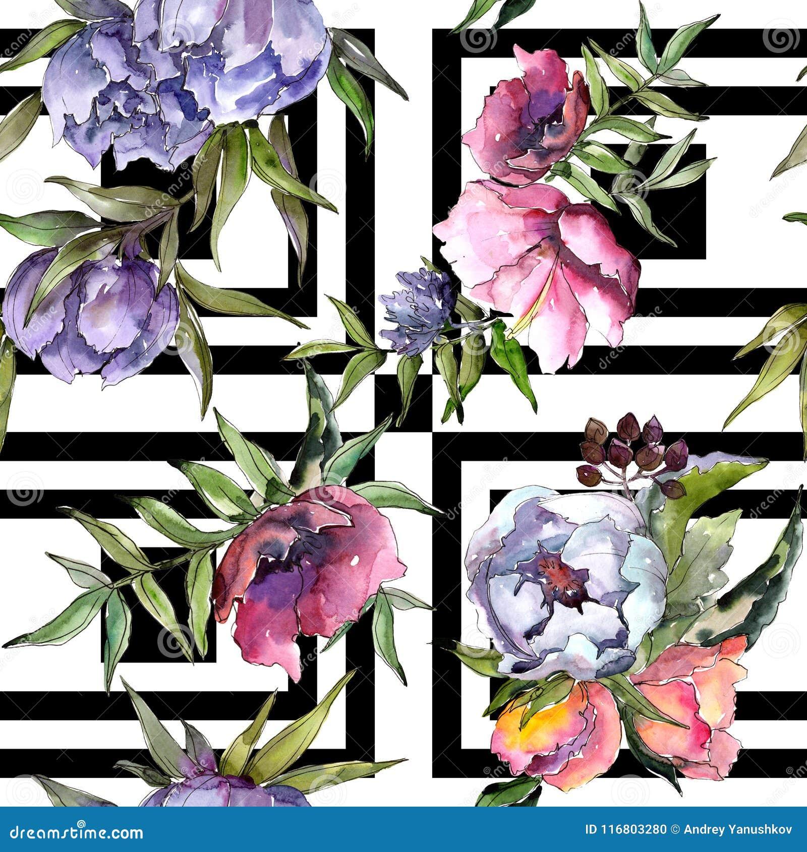 Modello dei wildflowers del mazzo in uno stile dell acquerello