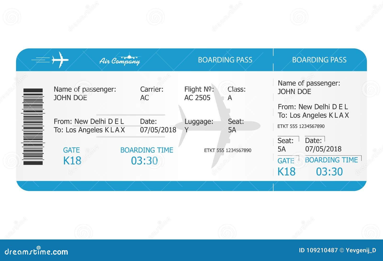 Modello del biglietto del passaggio di imbarco Biglietto di aeroplano concetto online del biglietto di linea aerea di prenotazion