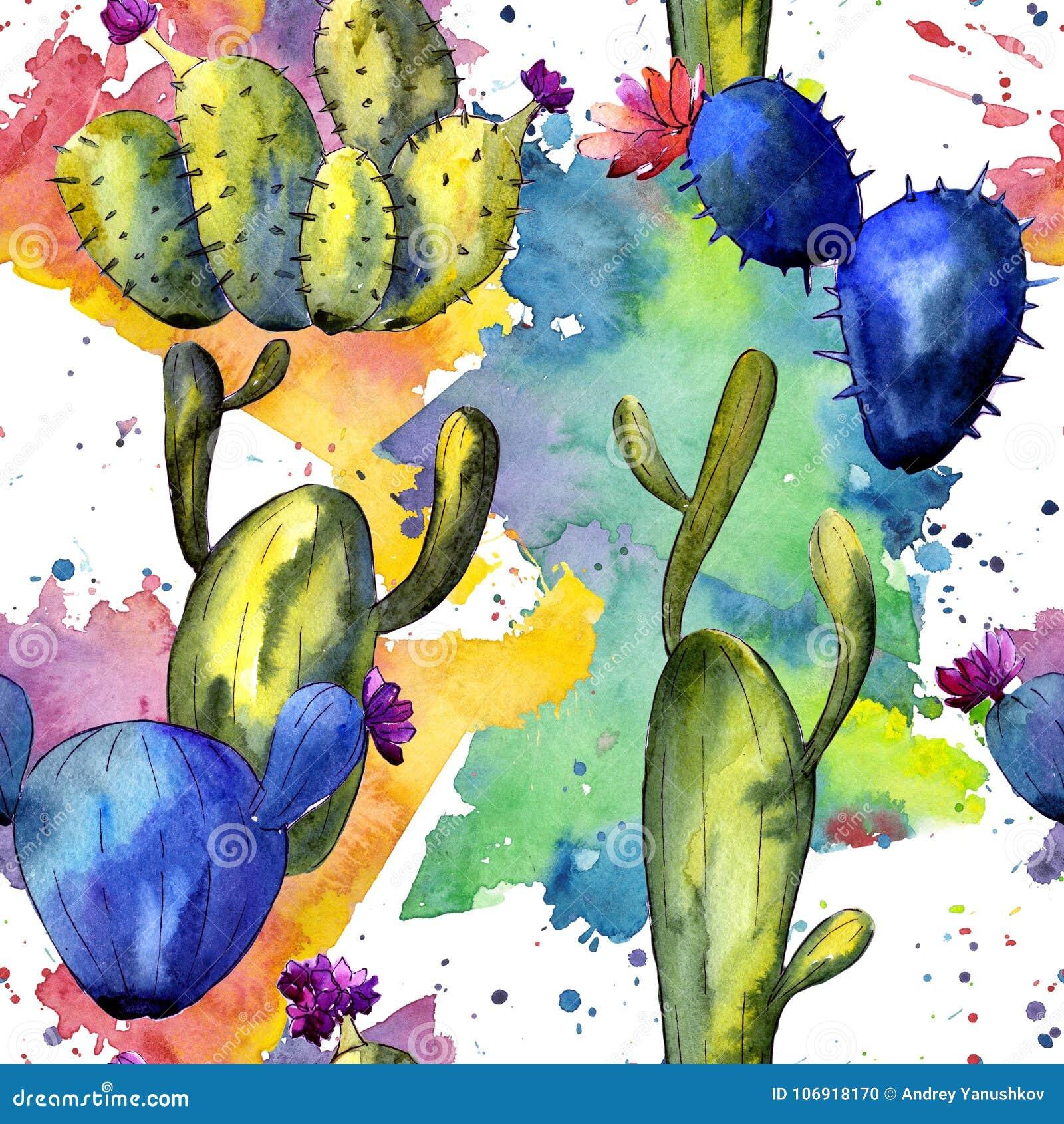 Modello del cactus del Wildflower in uno stile dell acquerello