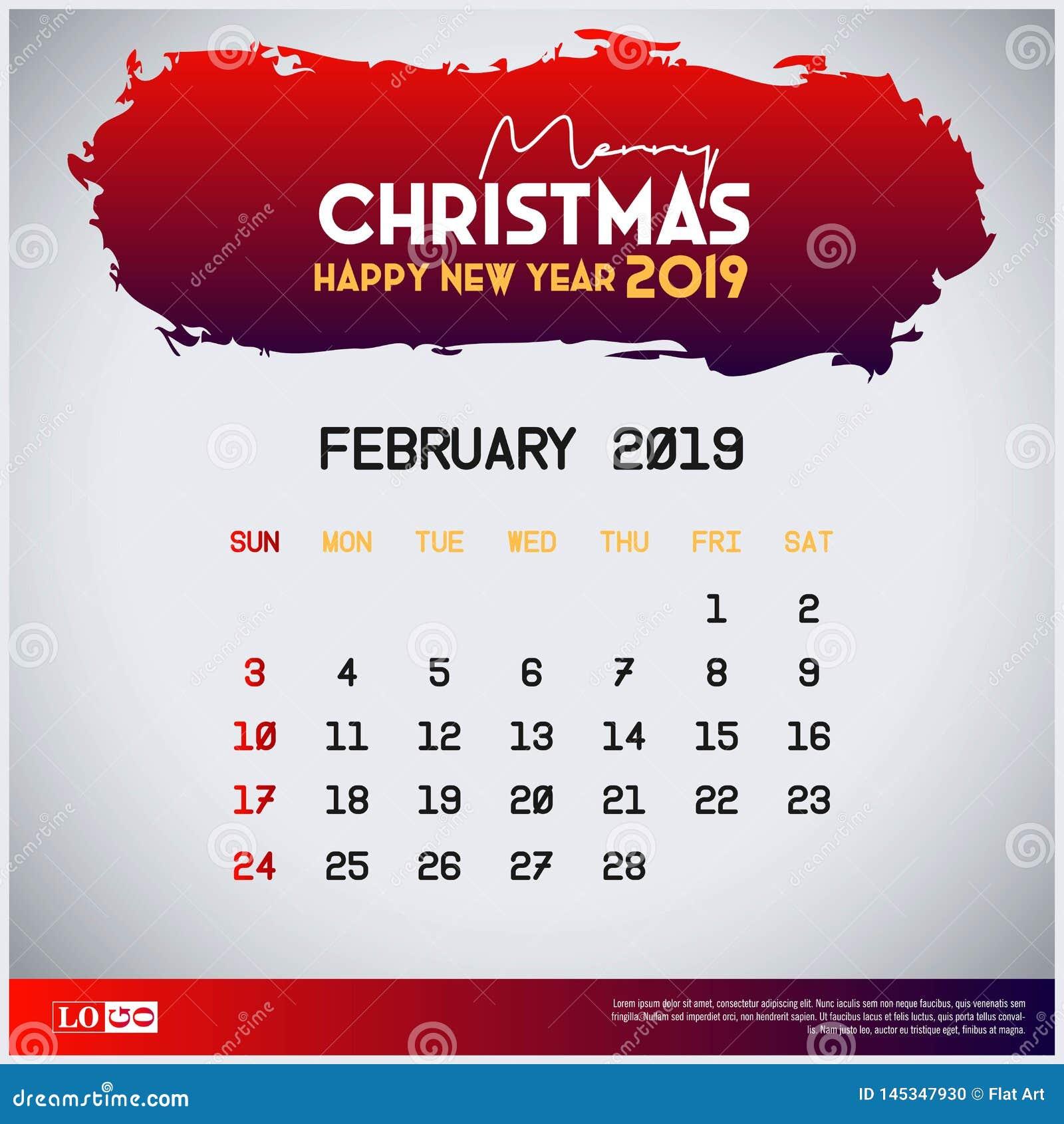 2019 modello del calendario di febbraio Buon Natale e fondo rosso dell intestazione del buon anno