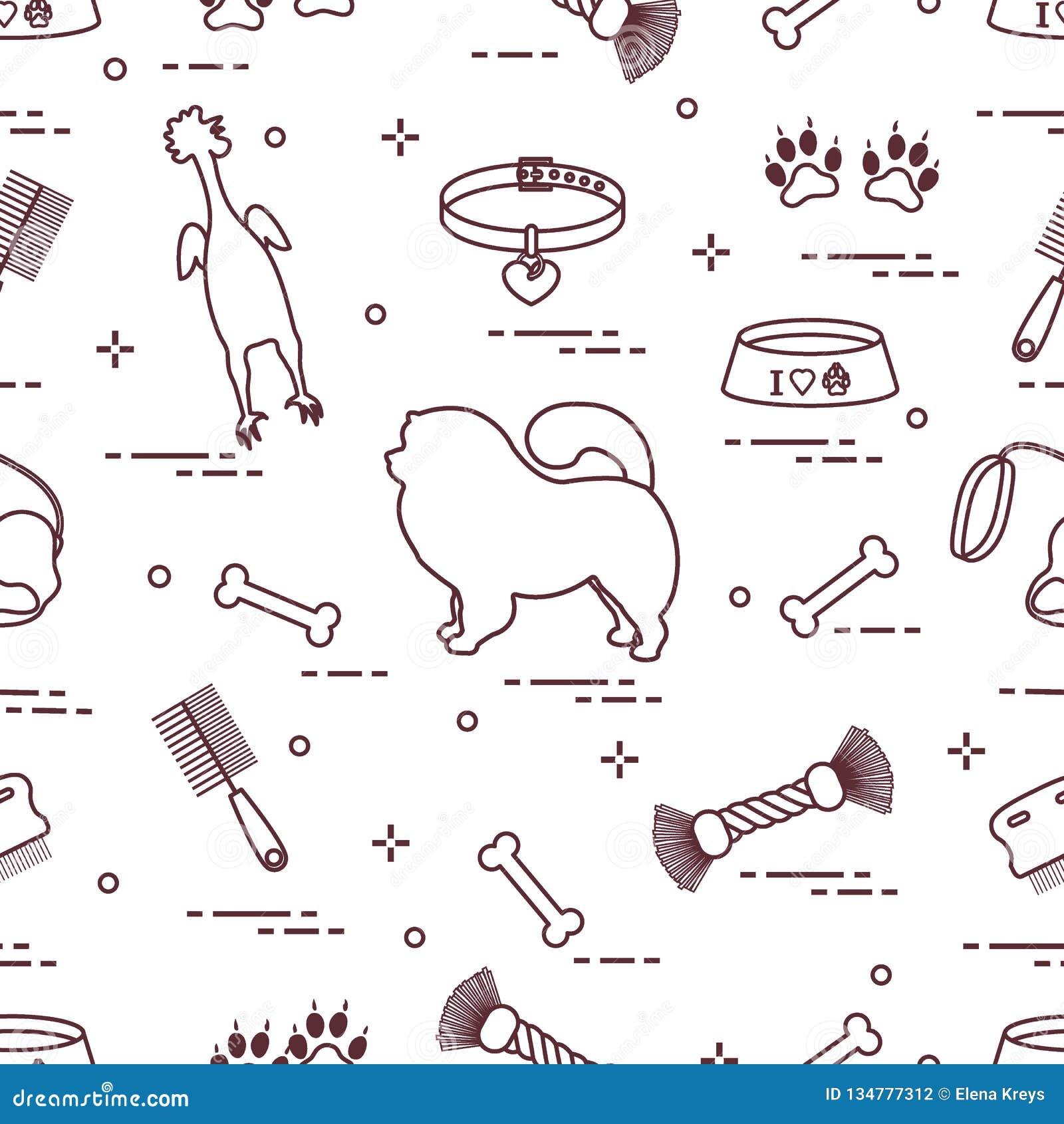 Modello del cane del chow-chow della siluetta, della ciotola, dell osso, della spazzola, del pettine, dei giocattoli e di altri o