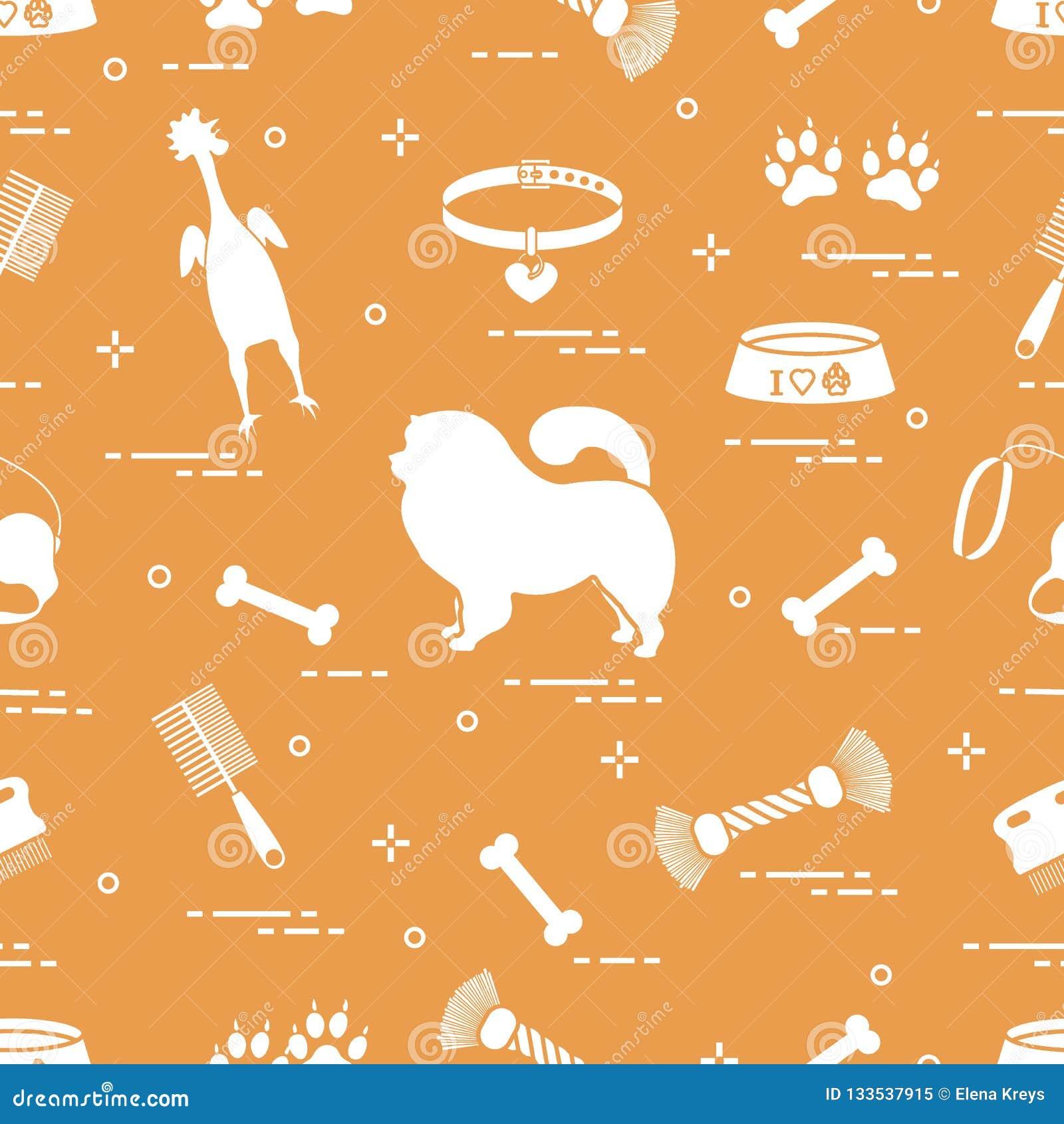 Modello del cane del chow-chow della siluetta, ciotola, osso, spazzola, pettine, a