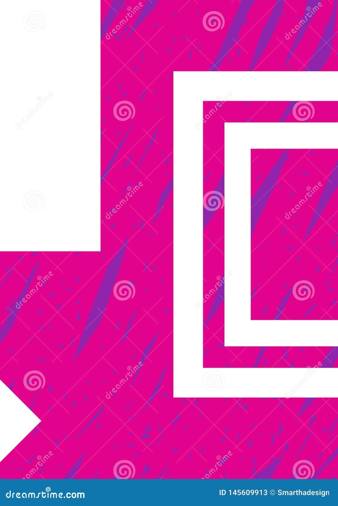 Modello del modello di vettore del manifesto Il rosa disegnato a mano ed il fondo blu dell illustrazione, elementi decorativi pro