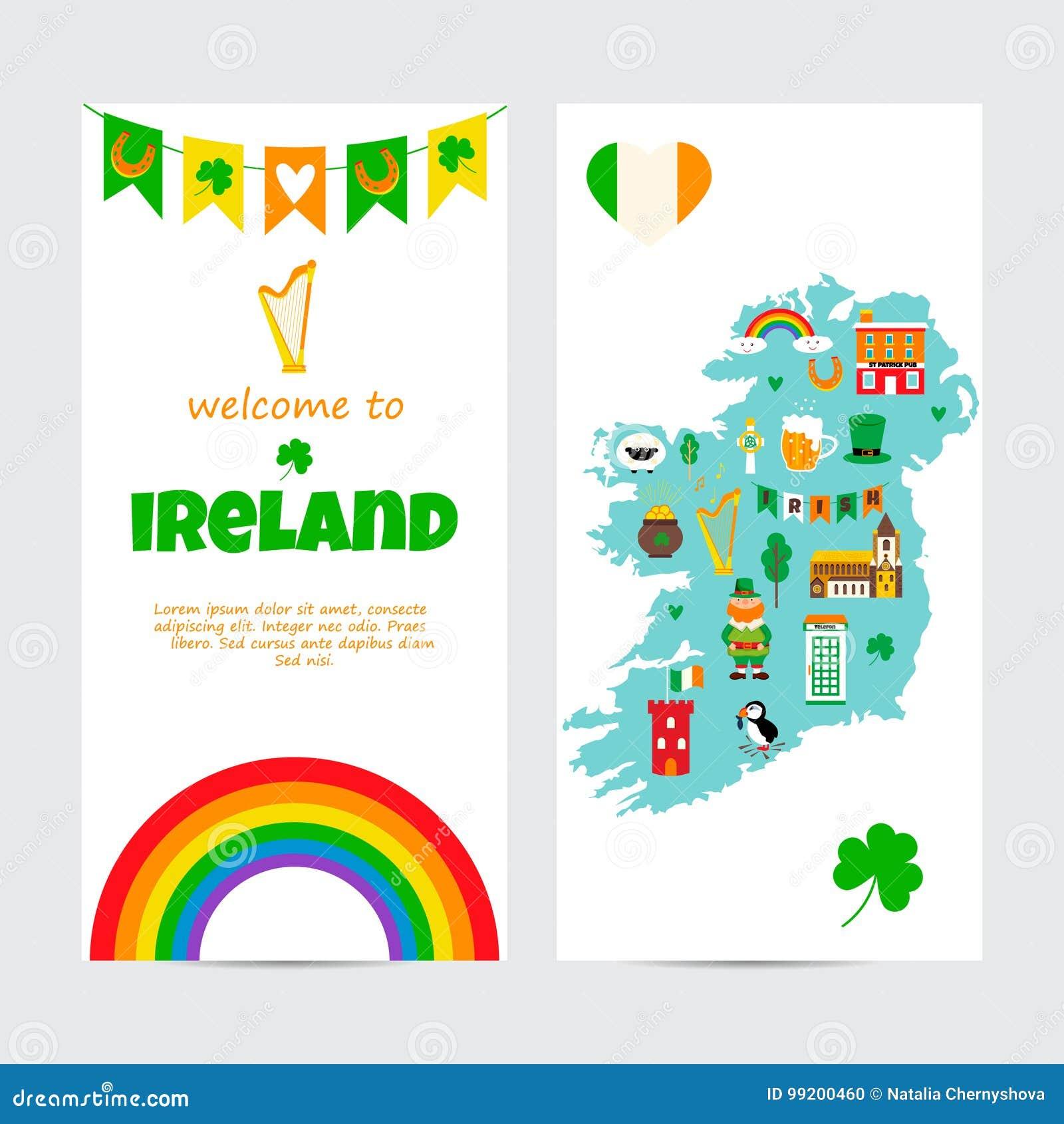 Irlanda Cartina Turistica.Modello Del Fondo Con La Mappa Turistica Dell Irlanda Con I Punti Di Riferimento I Simboli Ed Il Testo Illustrazione Vettoriale Illustrazione Di Mare Irlandese 99200460